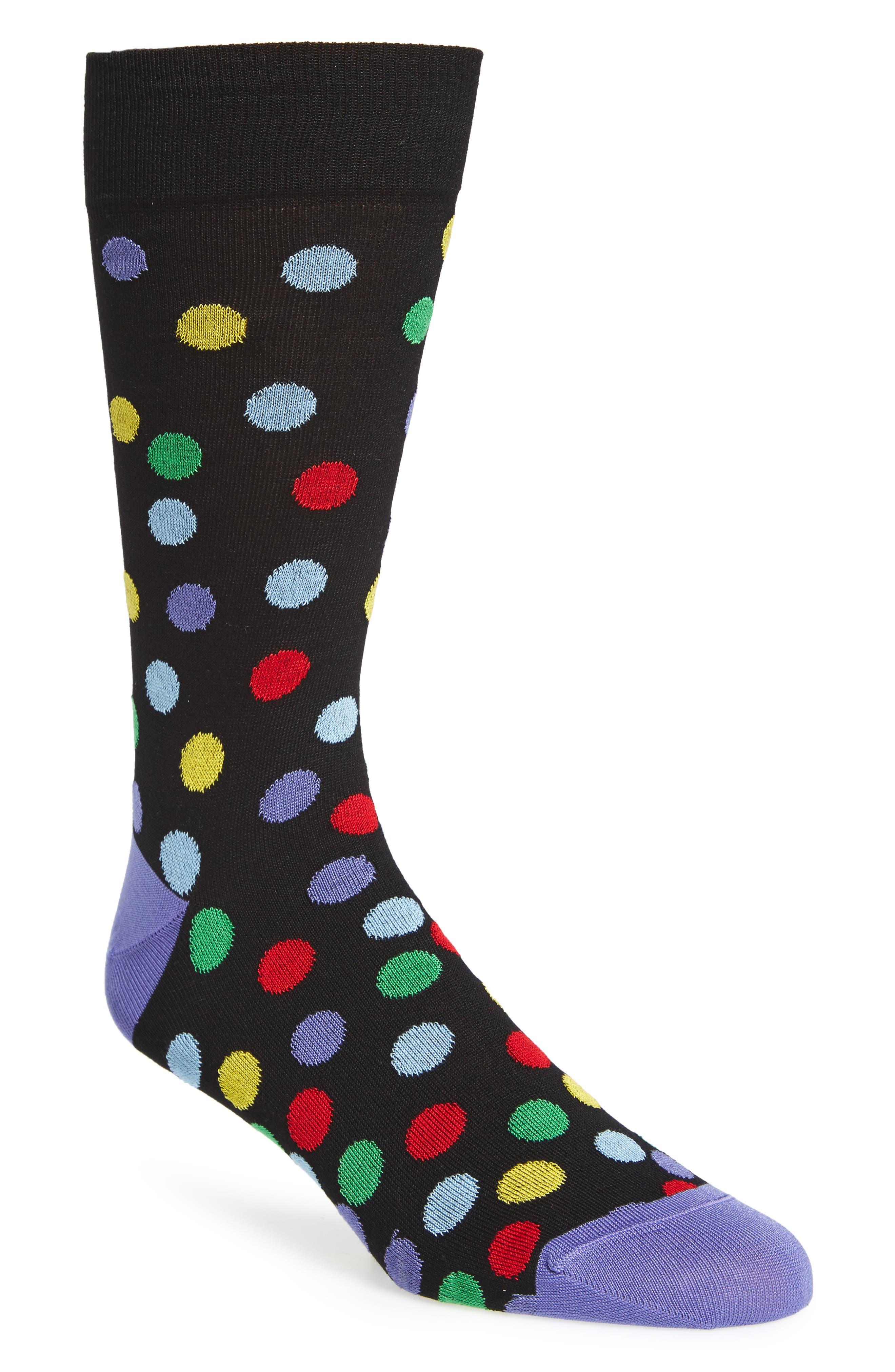 Large Polka Dot Socks,                         Main,                         color, Black