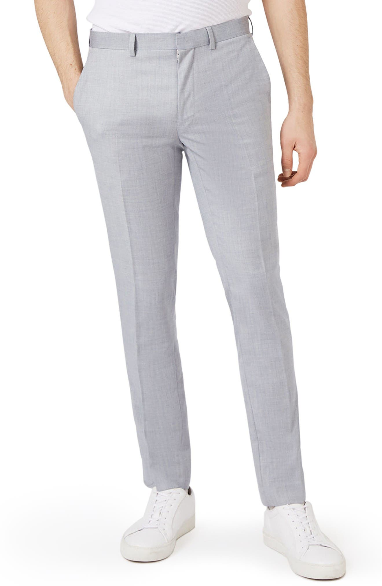 Skinny Fit Crosshatch Trousers,                         Main,                         color, Grey