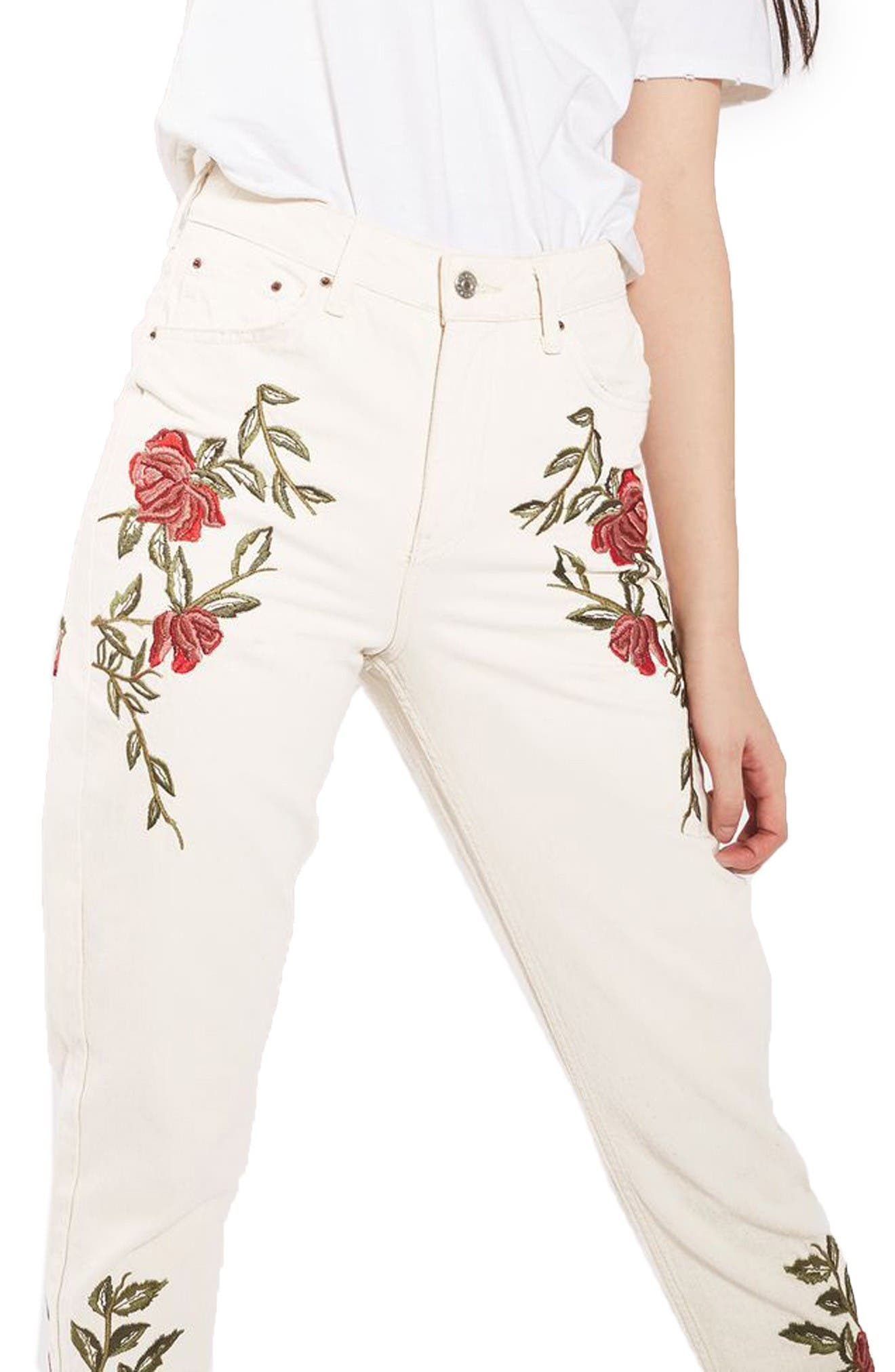 Alternate Image 3  - Topshop Rose Embroidered Mom Jeans