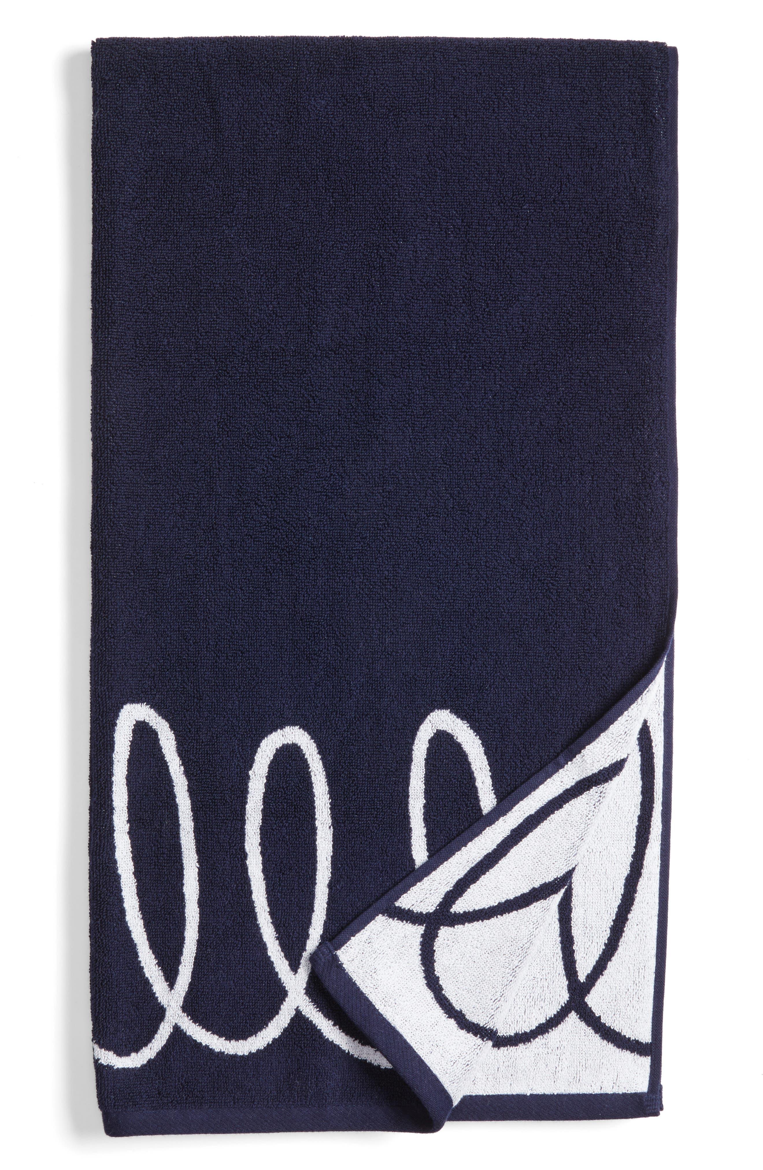 curlicue bath towel,                         Main,                         color, Navy