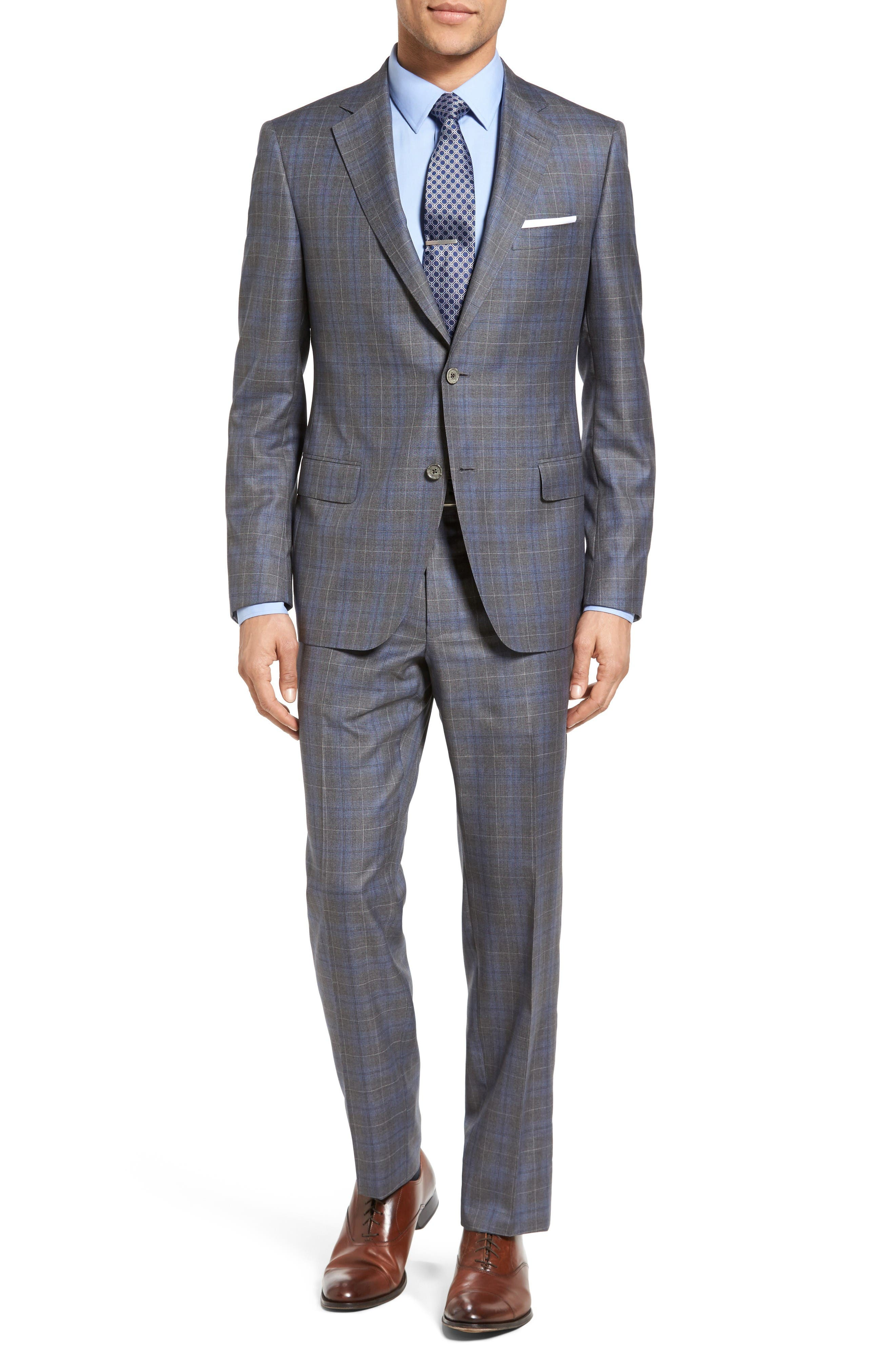 Classic Fit Plaid Wool & Silk Suit,                         Main,                         color, Mid Grey