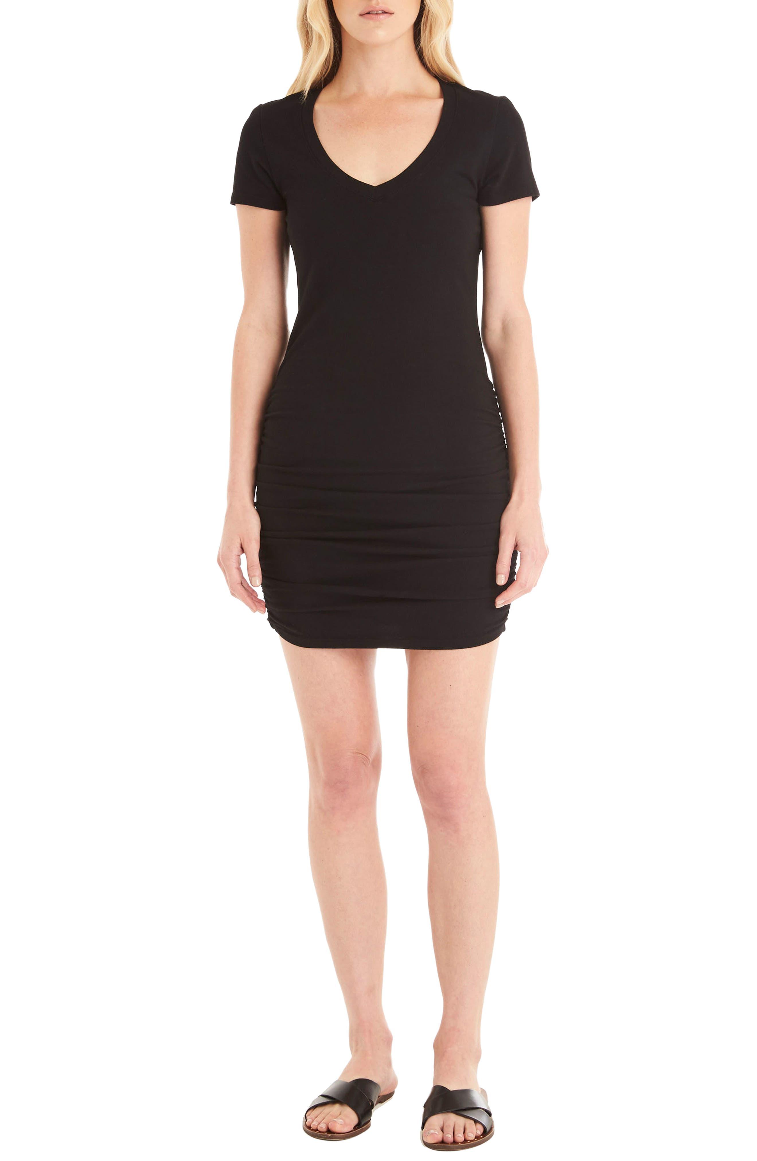 Ruched V-Neck Jersey Minidress,                         Main,                         color, Black