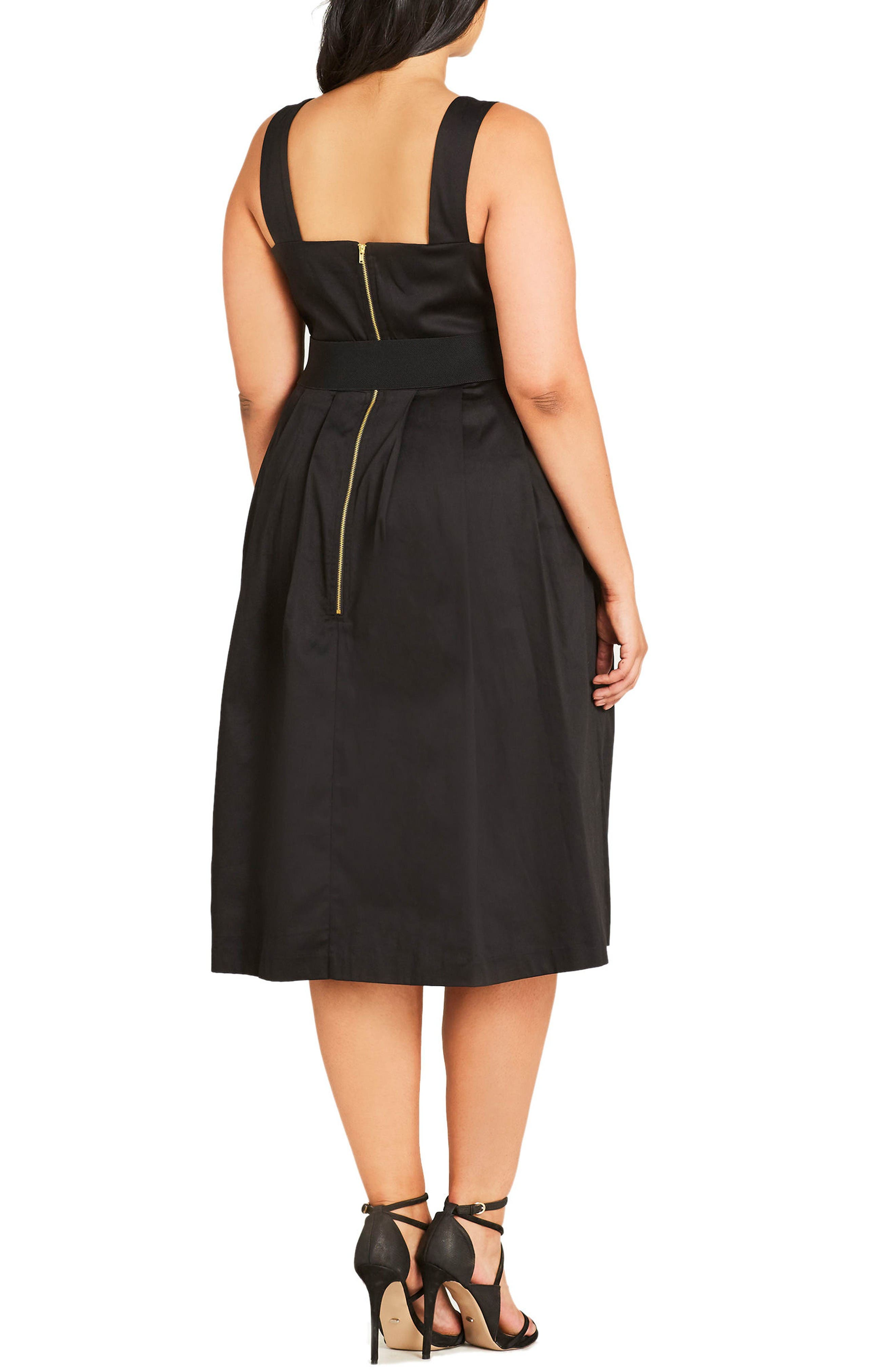 Stretch Cotton Midi Dress,                             Alternate thumbnail 2, color,                             Black