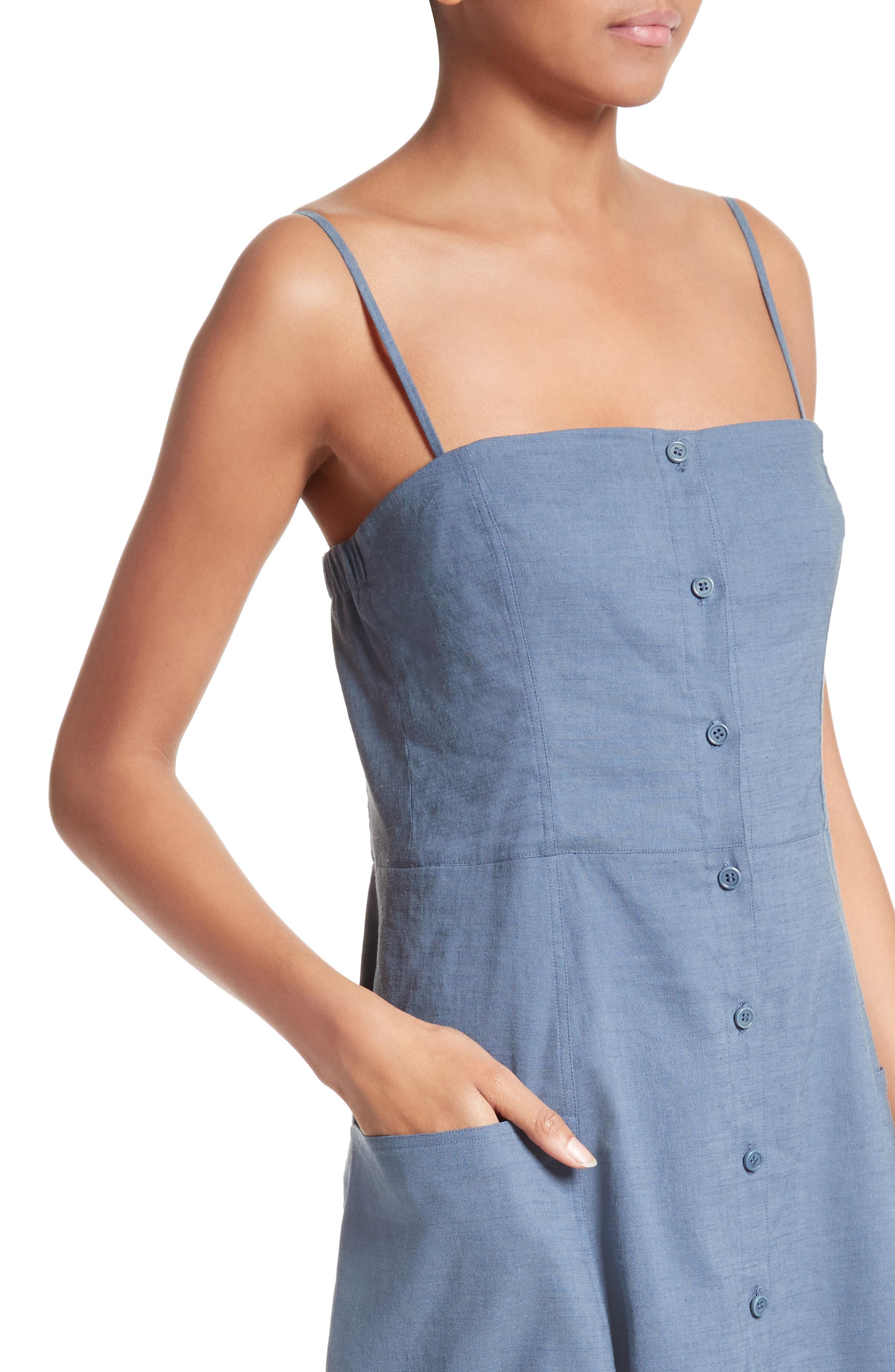 Alternate Image 4  - Theory Kayleigh Crunch Wash Chambray Midi Dress