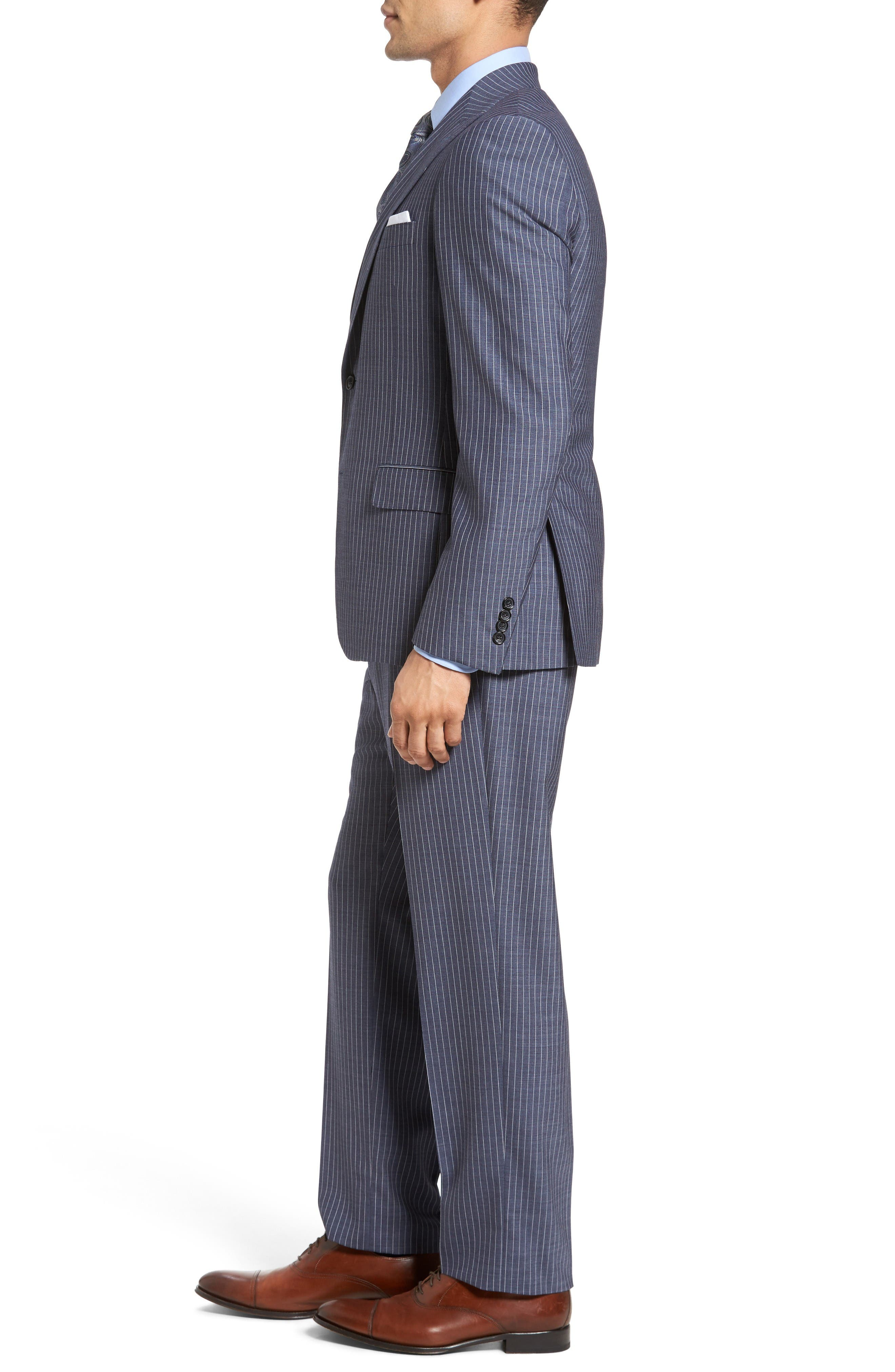 Beckett Classic Fit Stripe Wool Suit,                             Alternate thumbnail 3, color,                             Light Blue