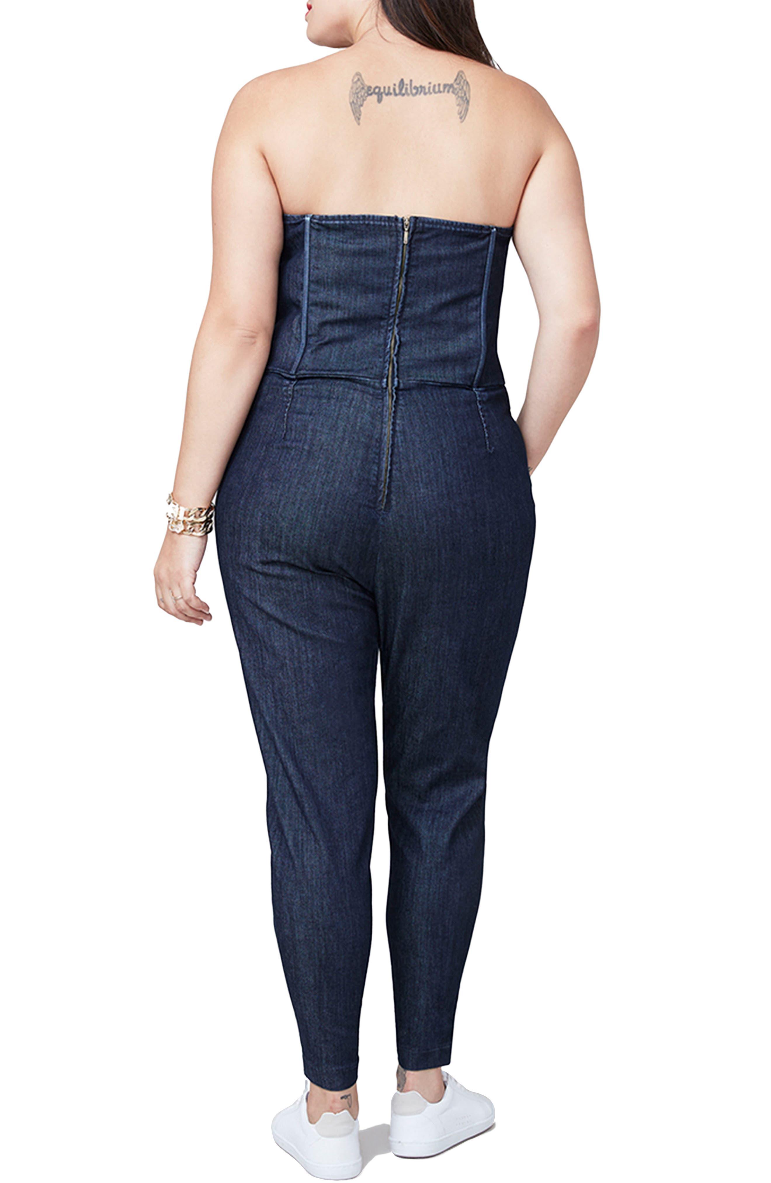 Alternate Image 2  - RACHEL Rachel Roy Strapless Denim Jumpsuit (Plus Size)