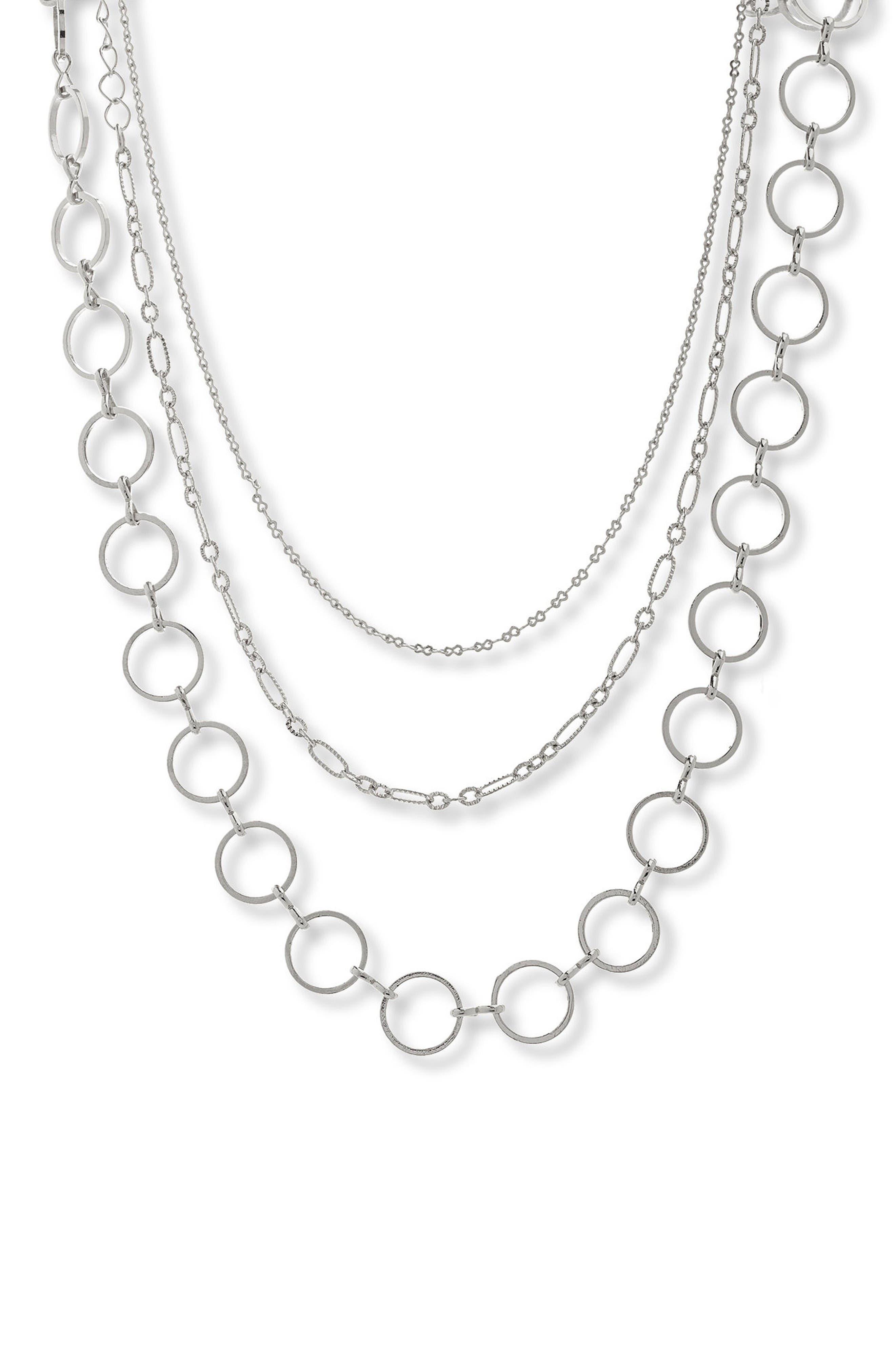 Layered Chain Choker,                             Main thumbnail 1, color,                             Silver