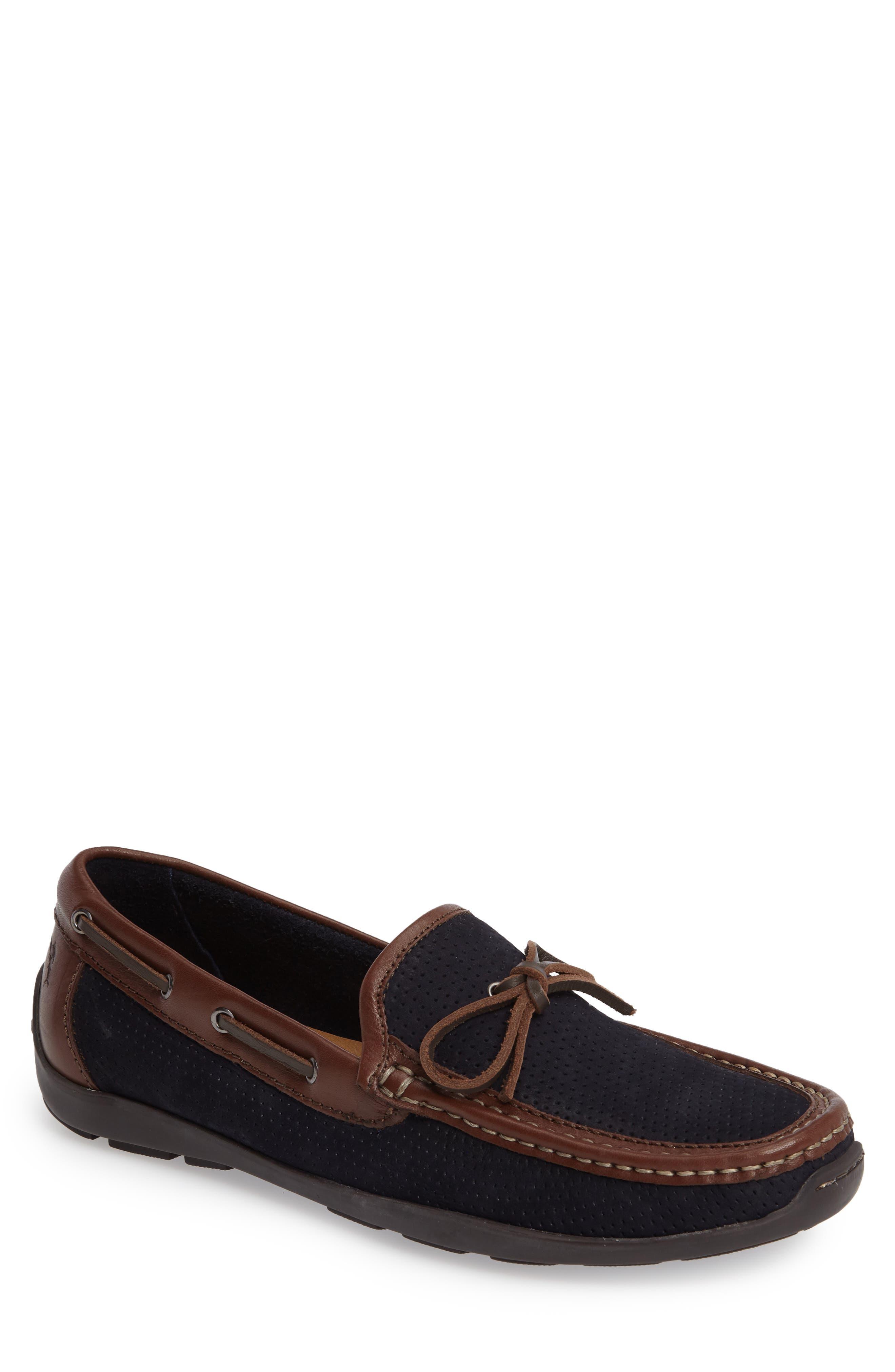 Odinn Driving Shoe,                         Main,                         color, Navy Nubuck Leather