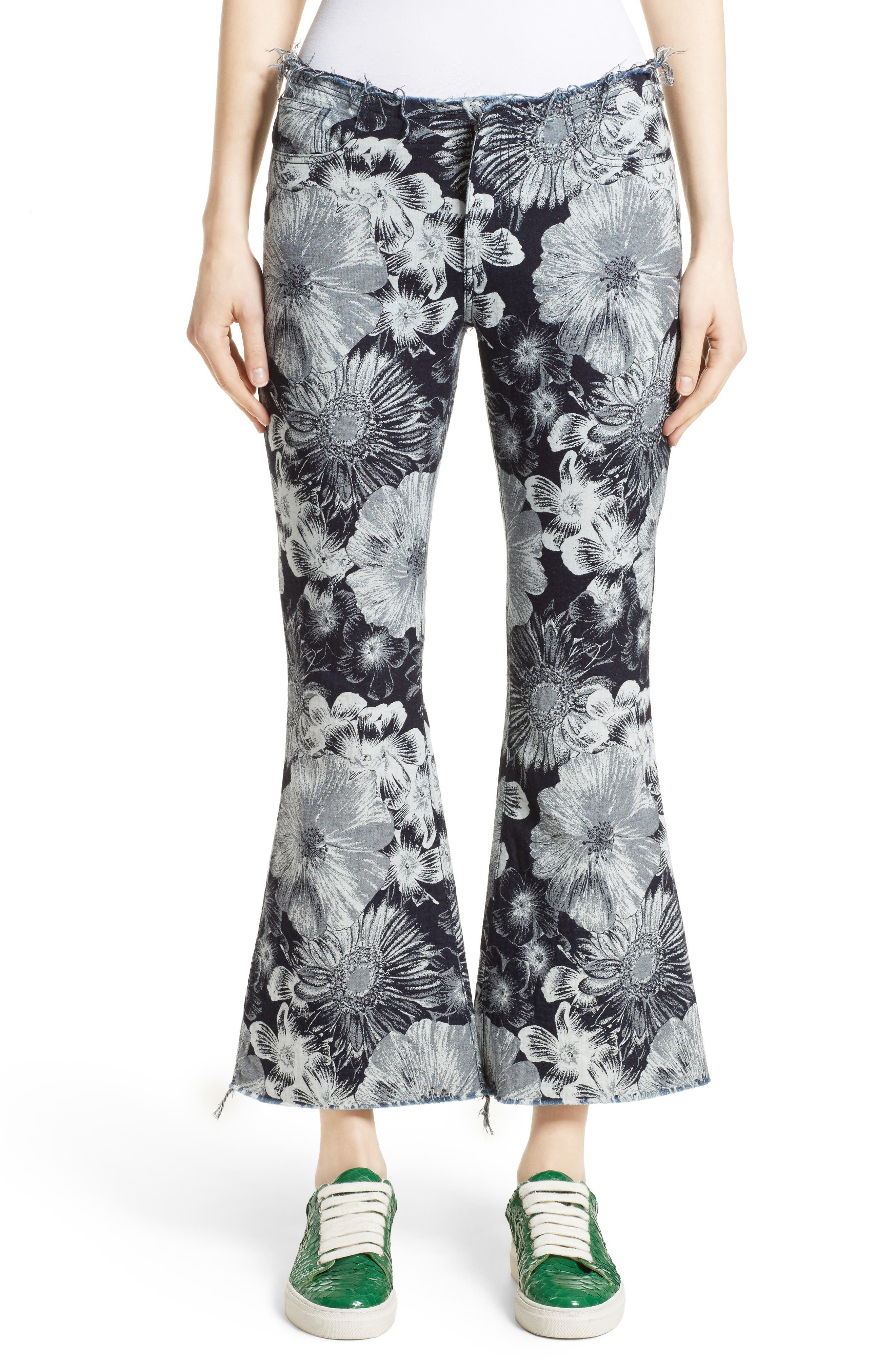 Marques'Almeida Floral Print Classic Crop Flare Jeans (Nordstrom Exclusive)