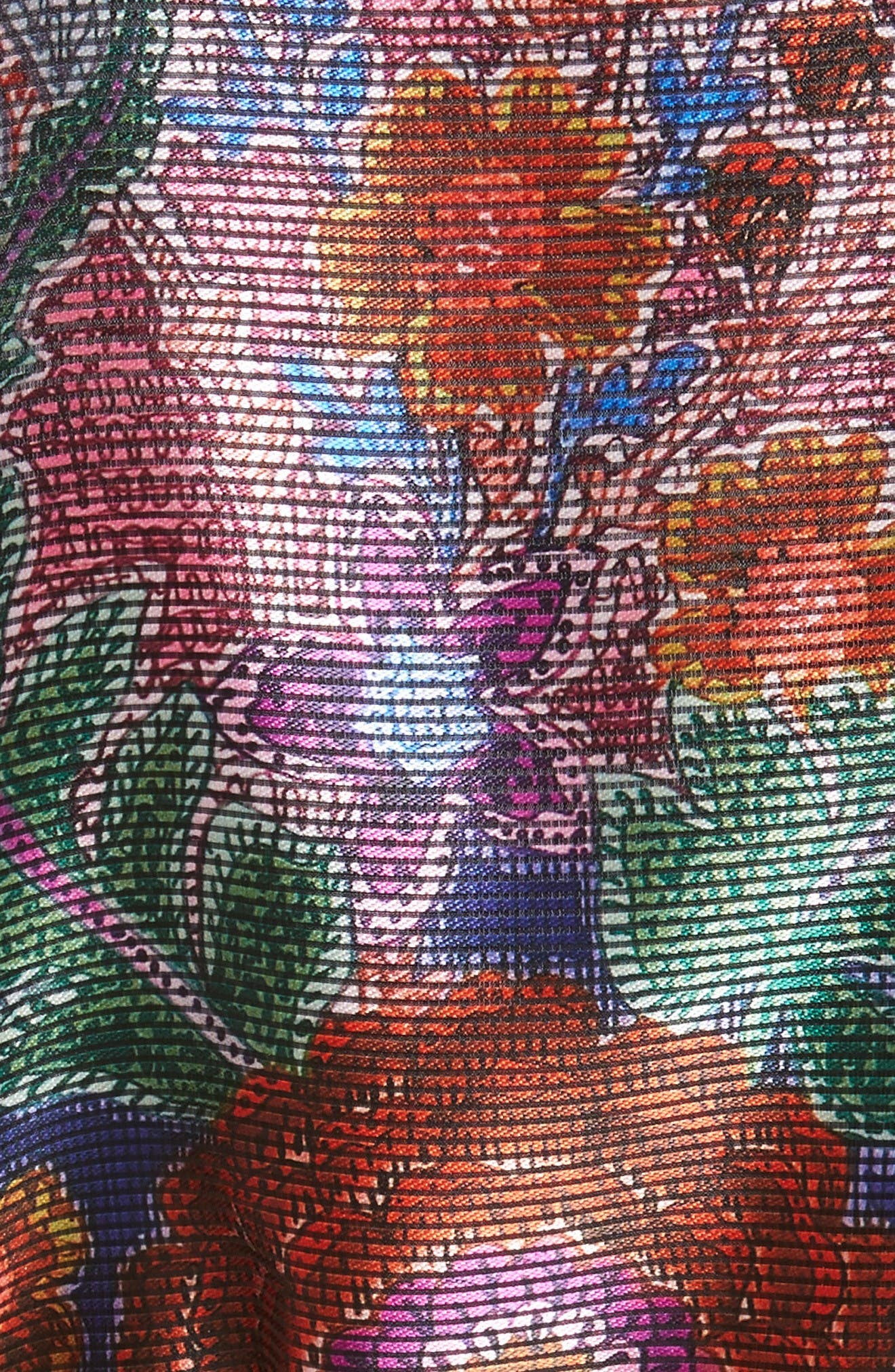 Floral Print Organza Jacket,                             Alternate thumbnail 3, color,                             Floral Multi