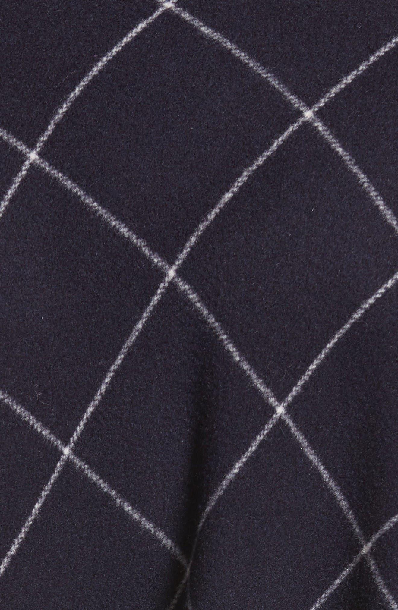 Windowpane Wool & Cashmere Wrap Coat,                             Alternate thumbnail 3, color,                             Navy Multi