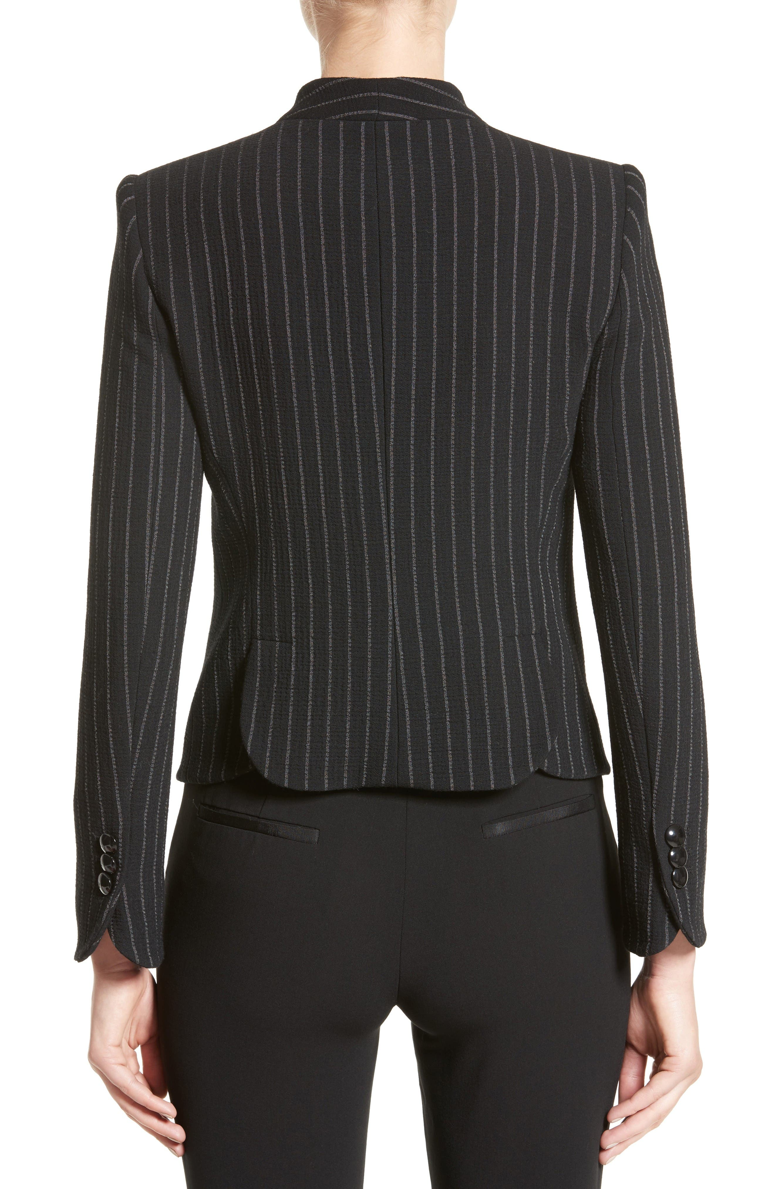 Stretch Wool Pinstripe Jacket,                             Alternate thumbnail 2, color,                             Black Grey Multi