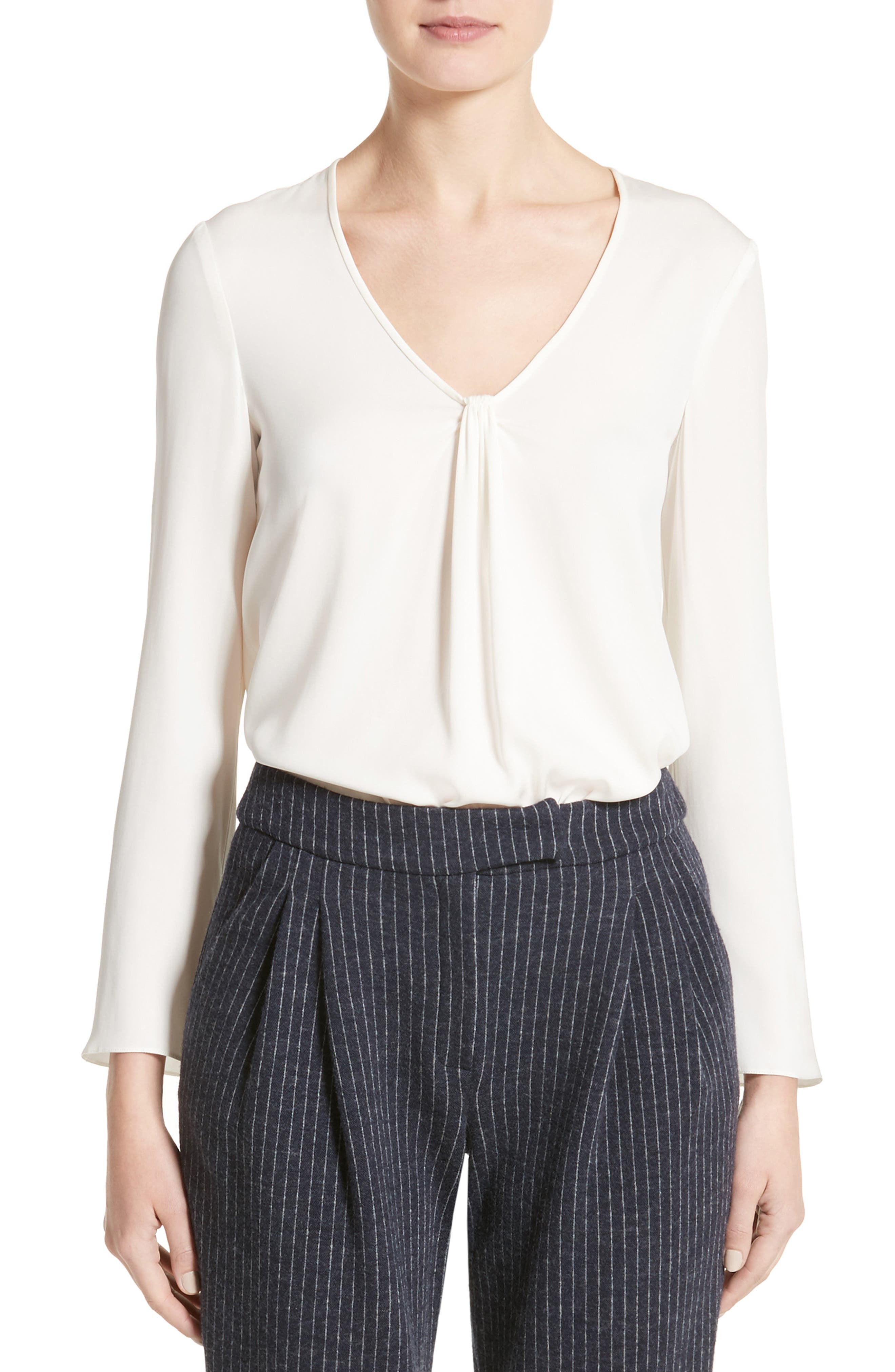 Faux Knot Stretch Silk Charmeuse Top,                         Main,                         color, Off White