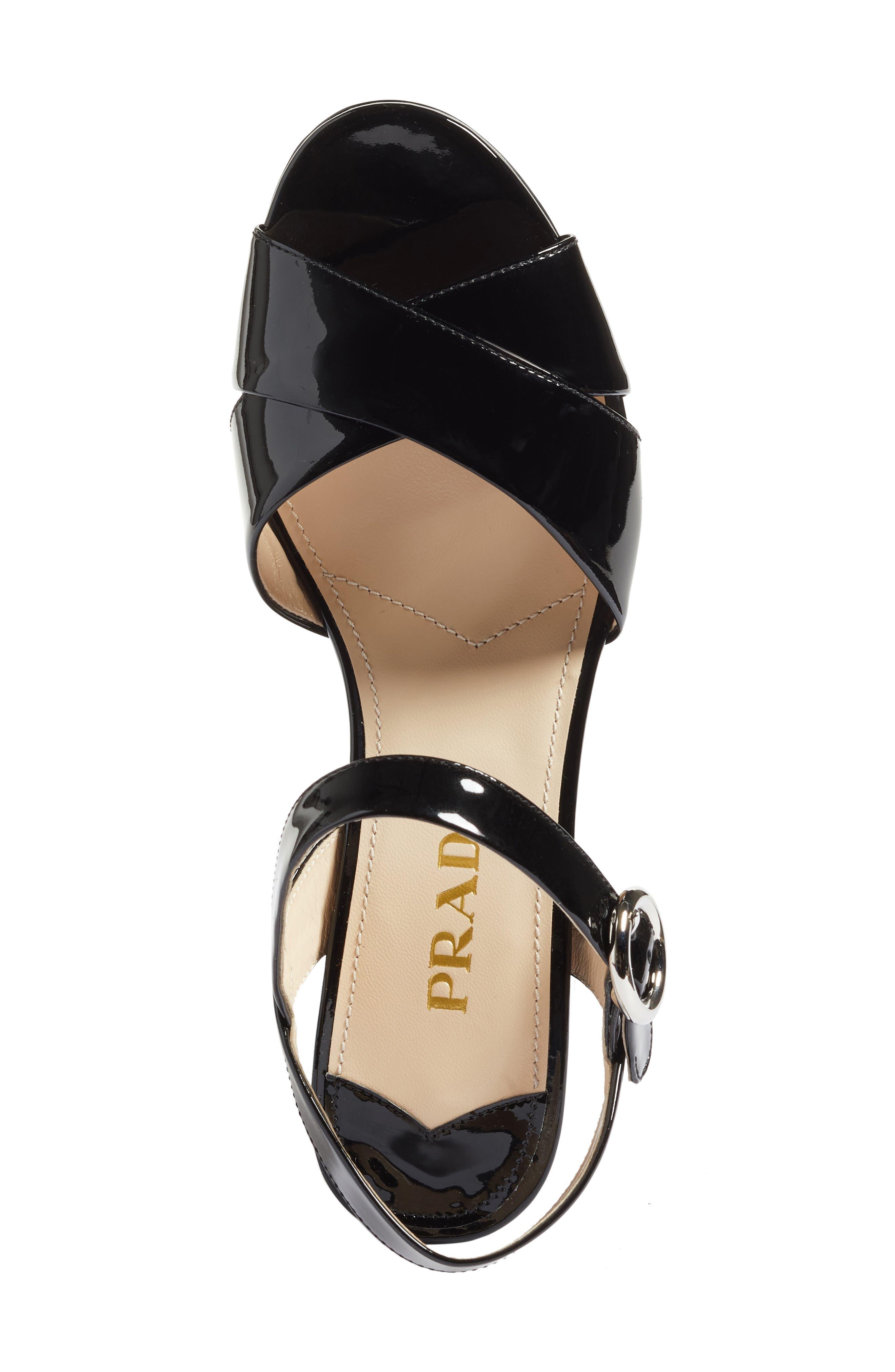 Strappy Platform Sandal,                             Alternate thumbnail 5, color,                             Black Patent