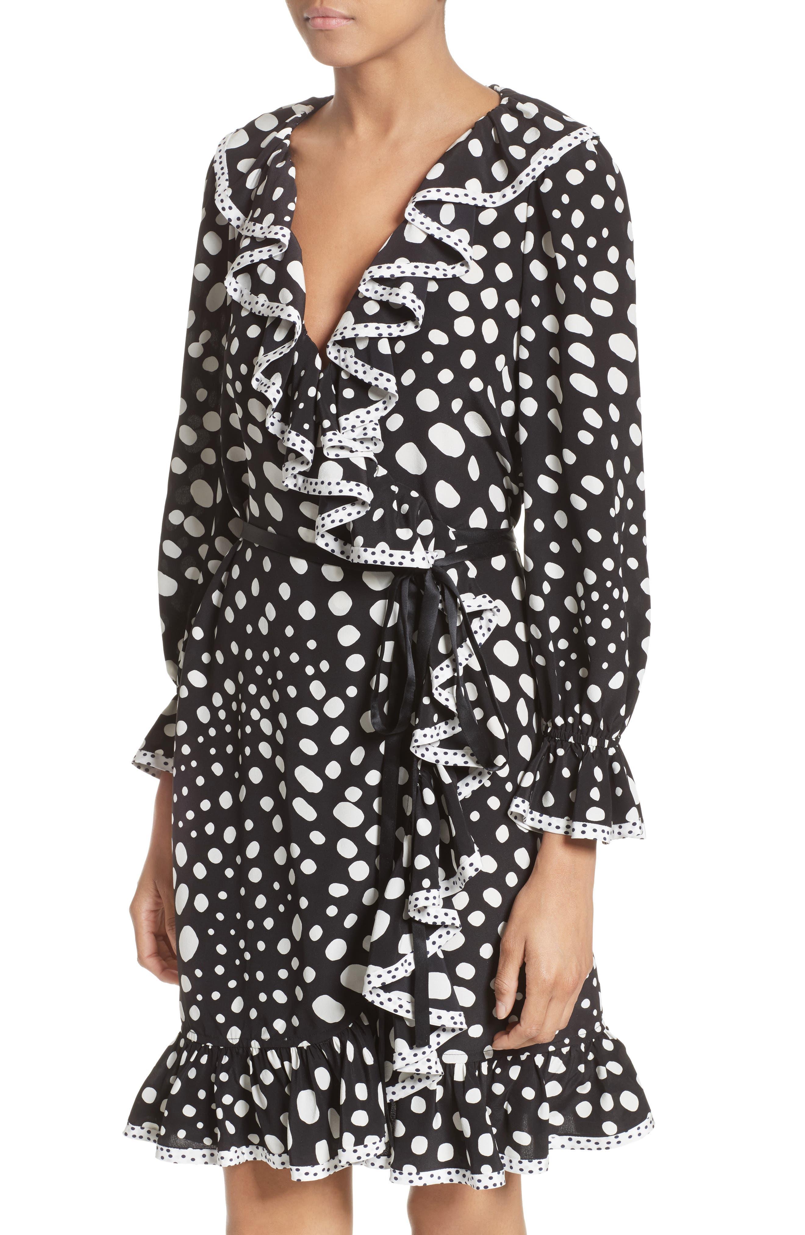 Polka Dot Ruffle Silk Wrap Dress,                             Alternate thumbnail 9, color,                             Black/ White