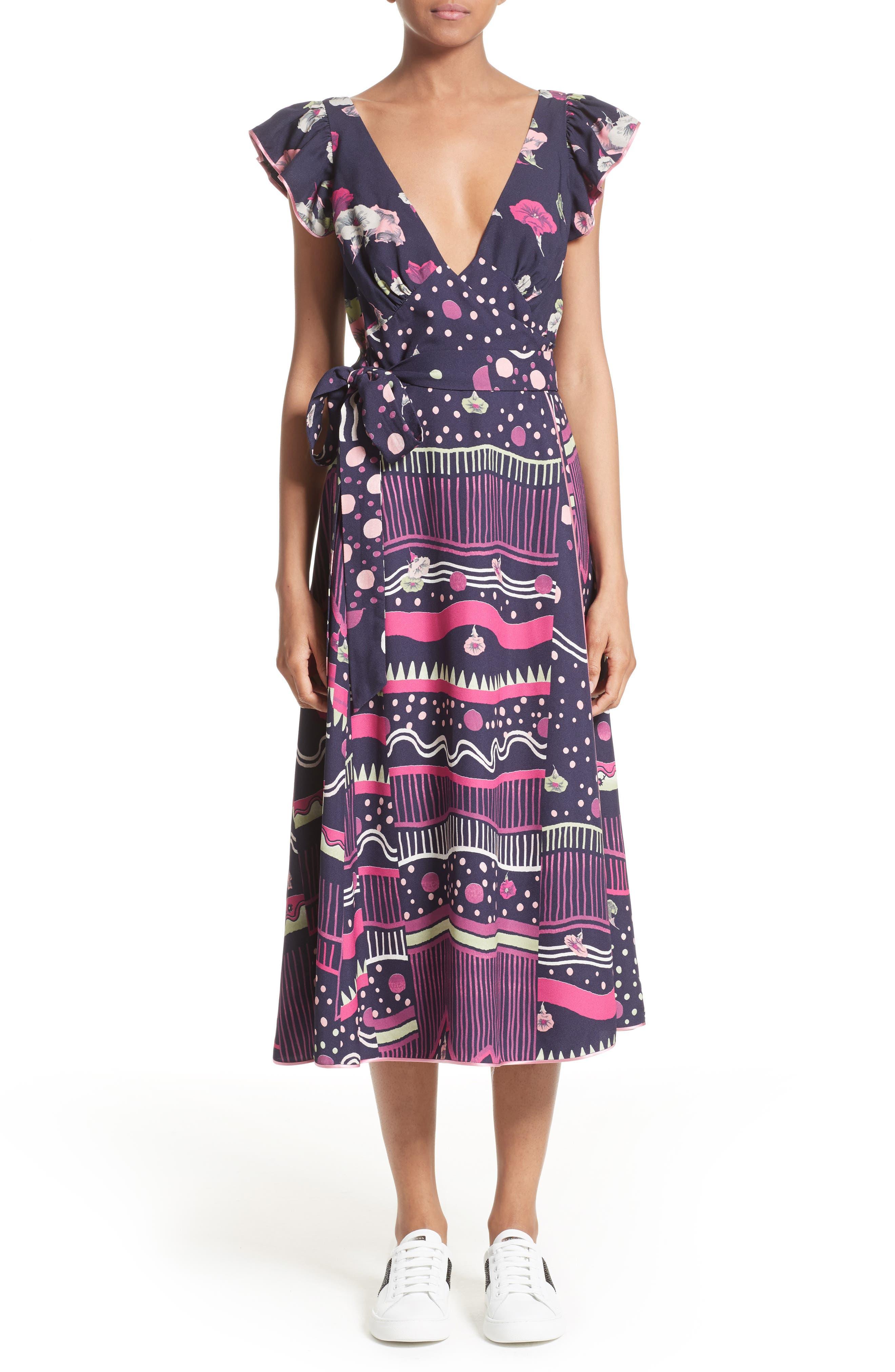 Glories Crepe Back Satin Midi Wrap Dress,                         Main,                         color, Navy Multi