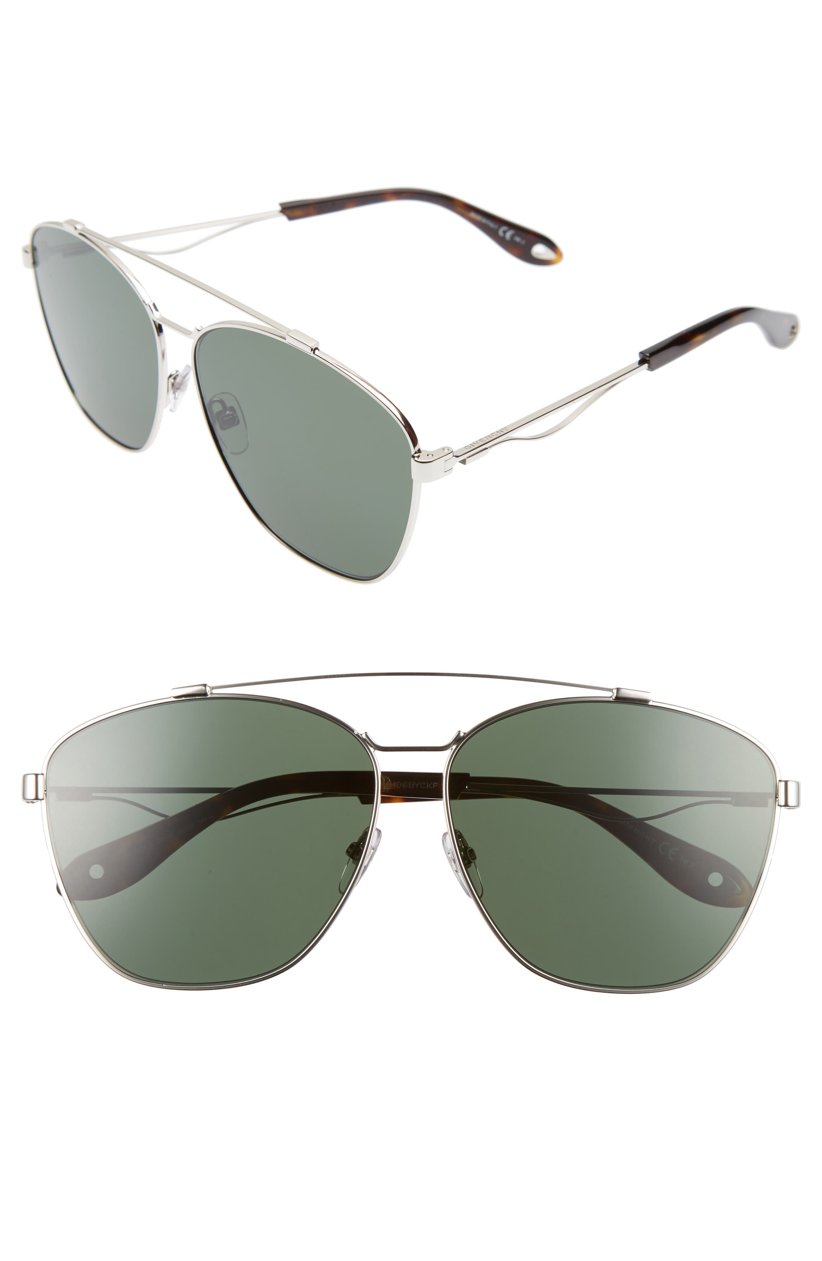 65mm Round Aviator Sunglasses,                             Main thumbnail 1, color,                             Palladium