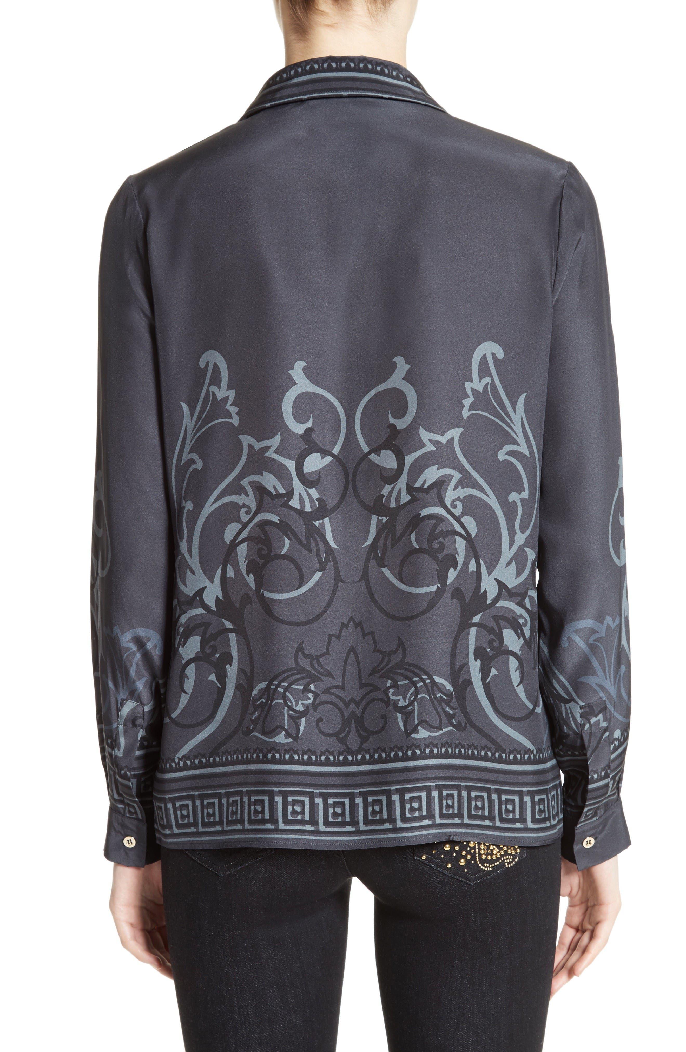 Baroque Print Silk Blouse,                             Alternate thumbnail 2, color,                             Black/ Grey