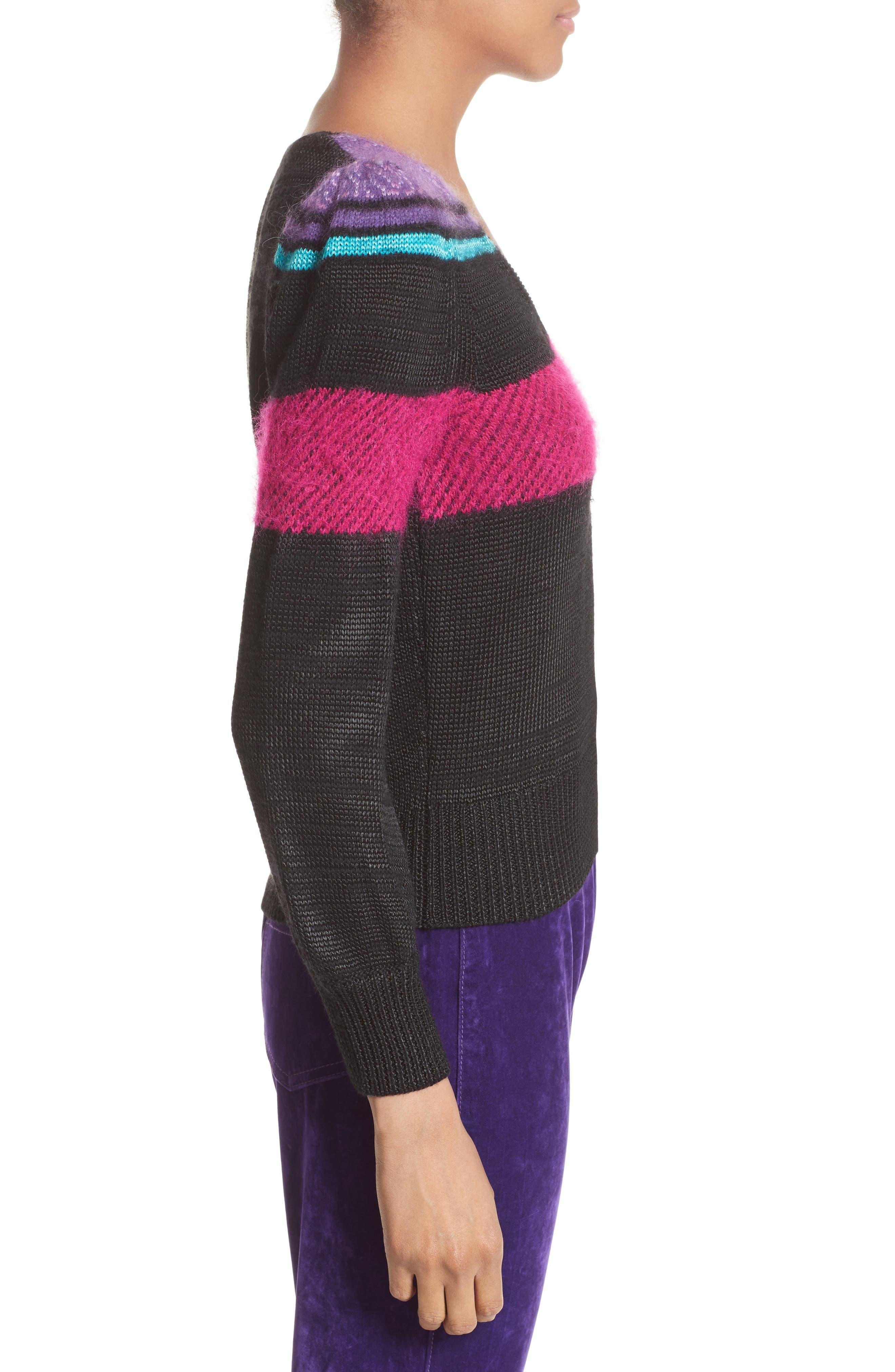 '80s Stripe Knit Sweater,                             Alternate thumbnail 4, color,                             Black Multi