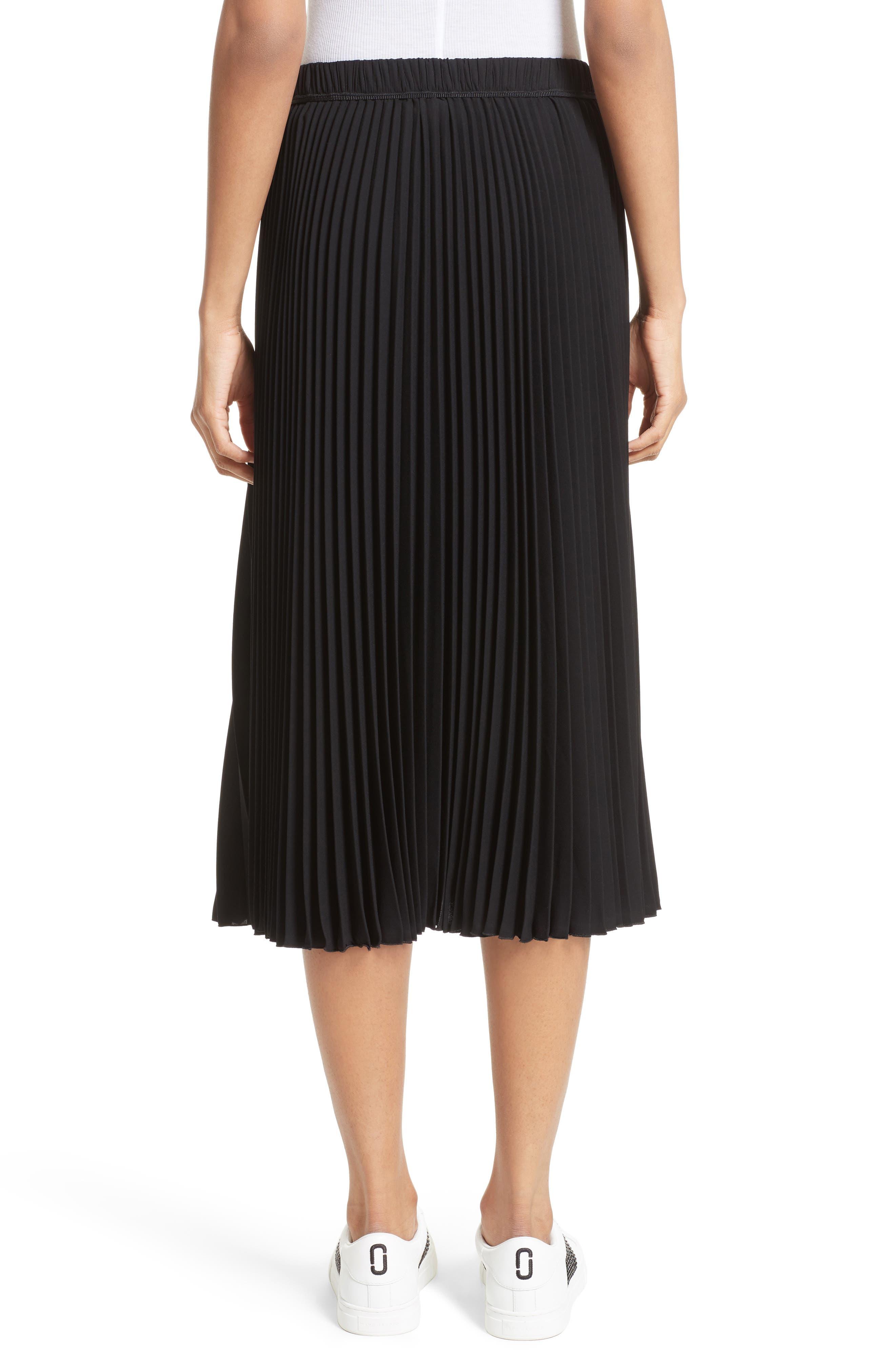 Pleated Crêpe de Chine Midi Skirt,                             Alternate thumbnail 3, color,                             Black