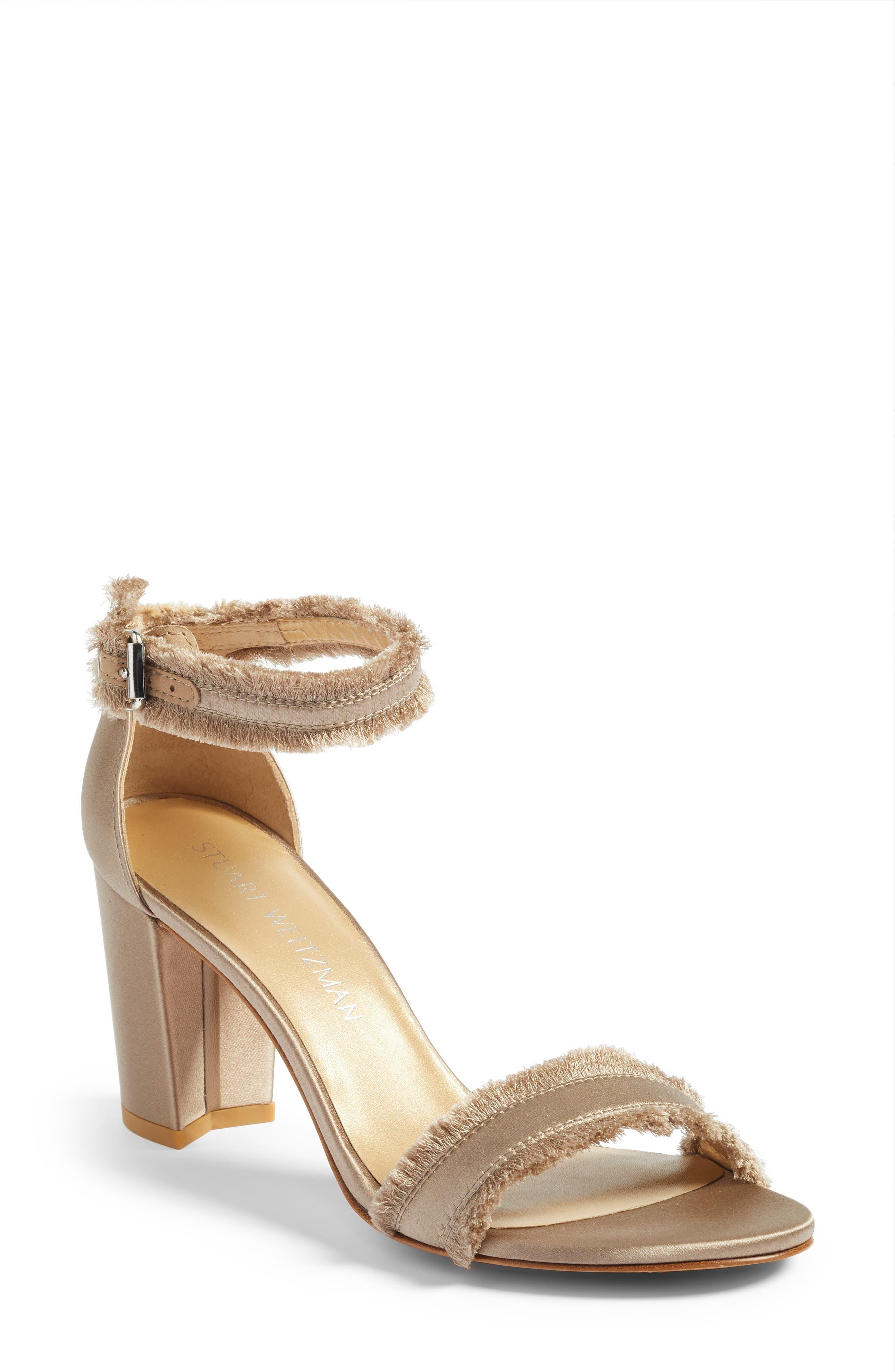 Frayed Ankle Strap Sandal,                         Main,                         color, Misty Satin