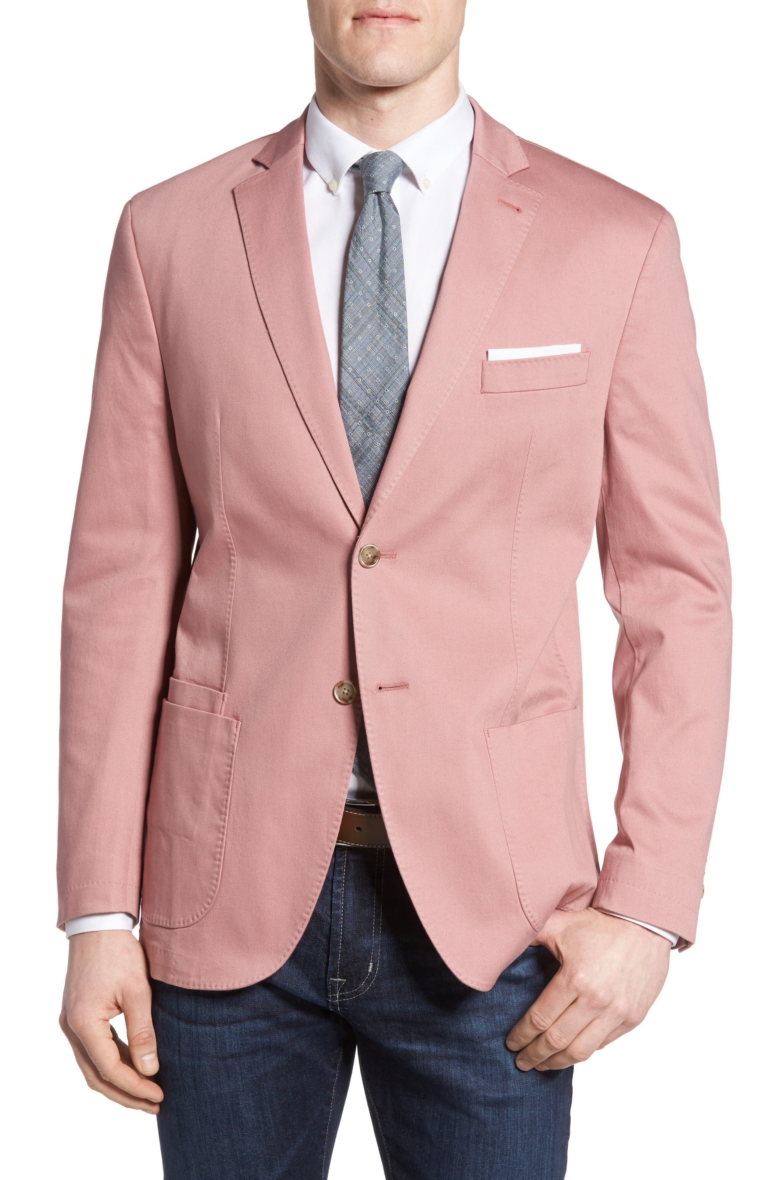 Trim Fit Stretch Cotton Blazer,                         Main,                         color, Pink