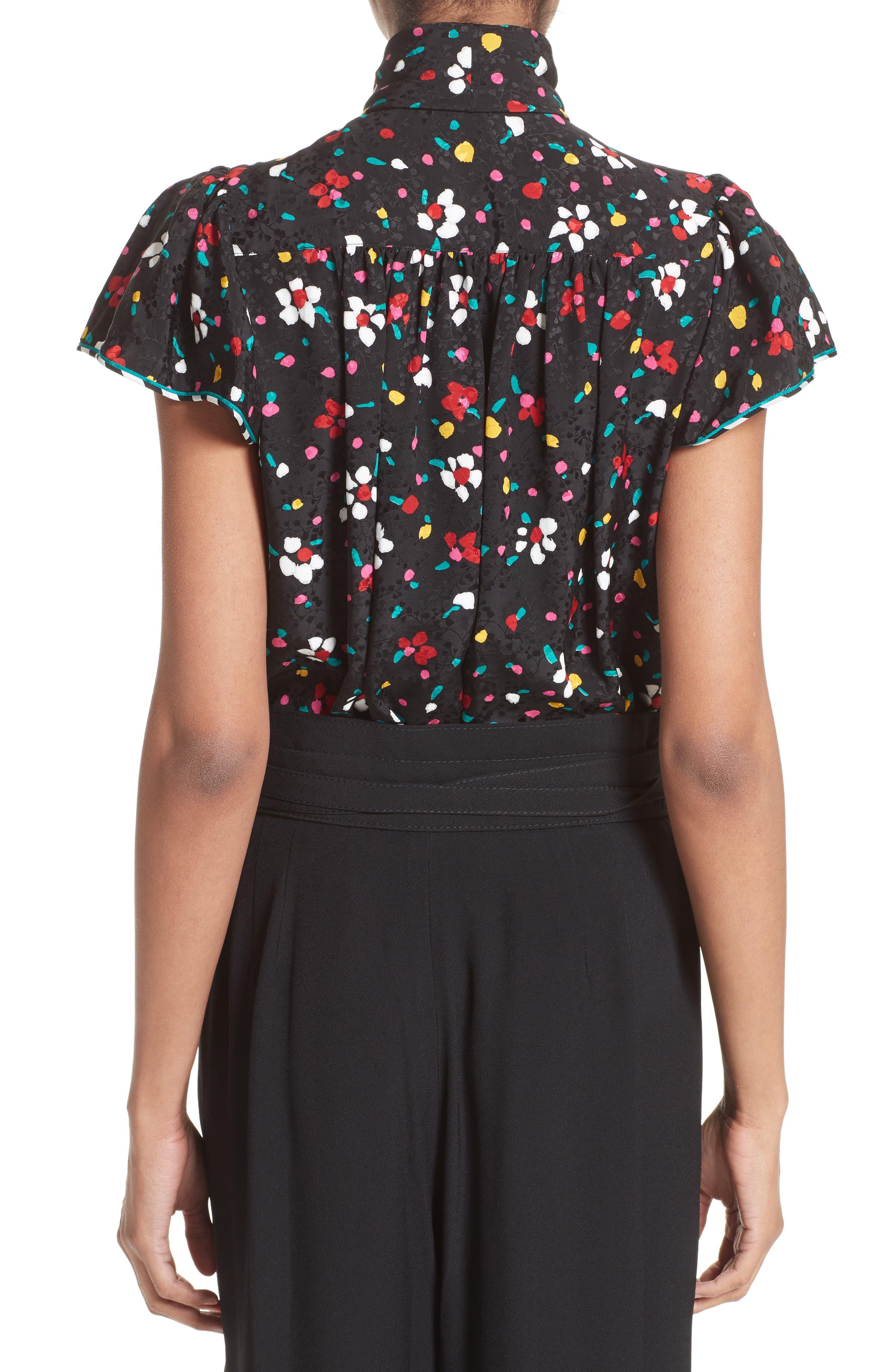 Floral Silk Jacquard Blouse,                             Alternate thumbnail 2, color,                             Black Multi