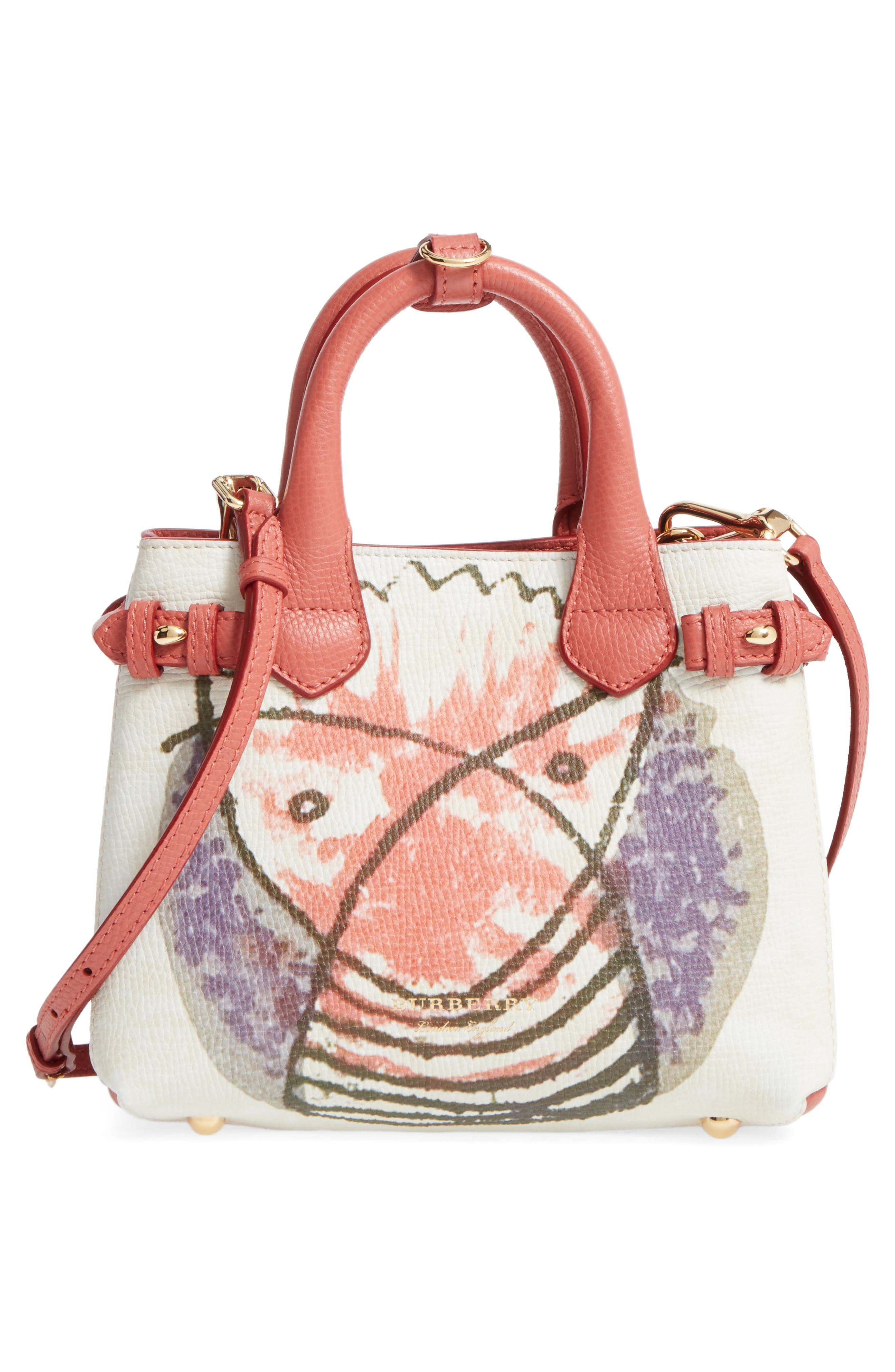 Small Banner - Palace Print Leather Tote,                             Alternate thumbnail 3, color,                             Cinnamon Red