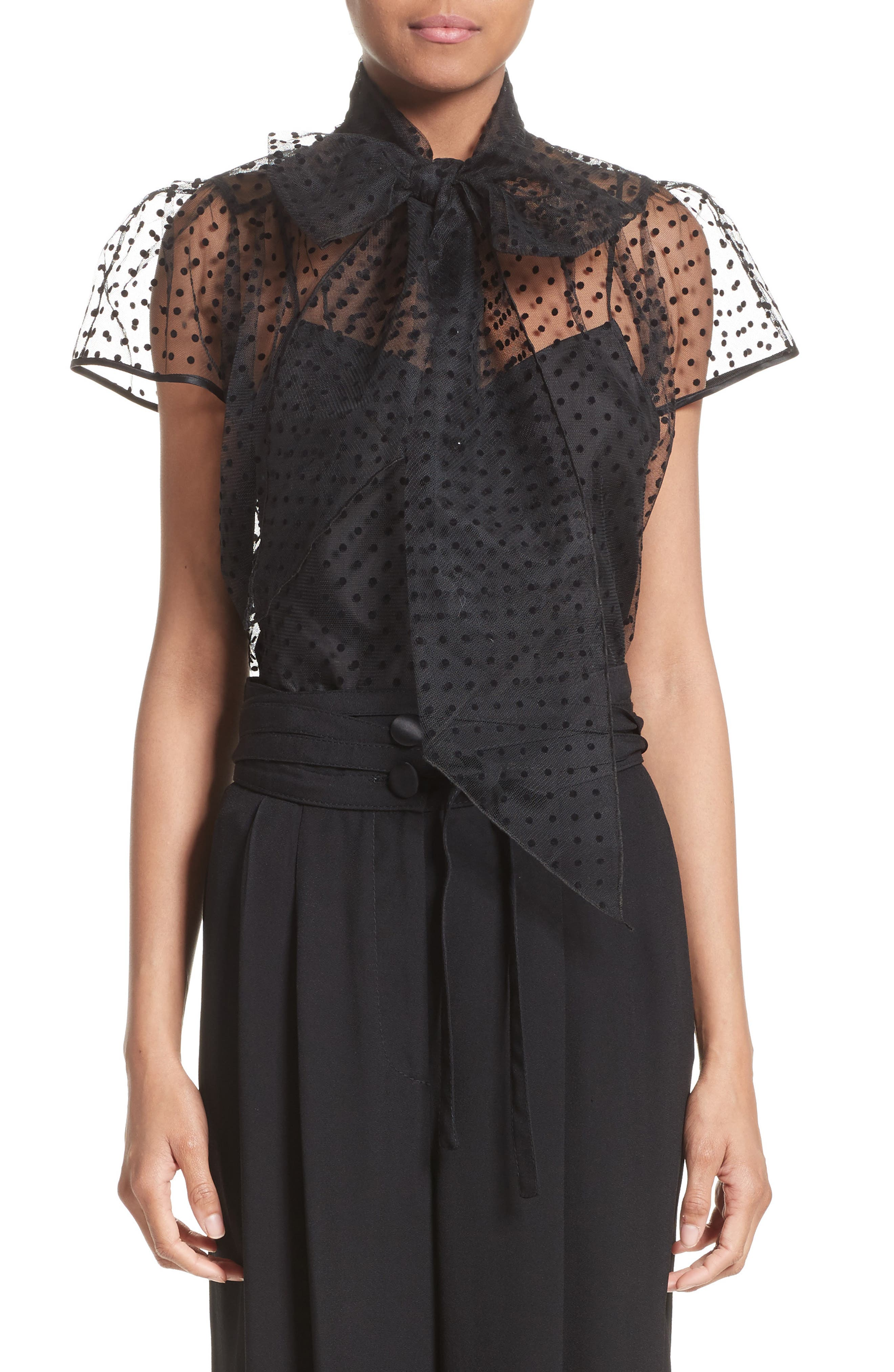 MARC JACOBS Flocked Dot Tulle Top
