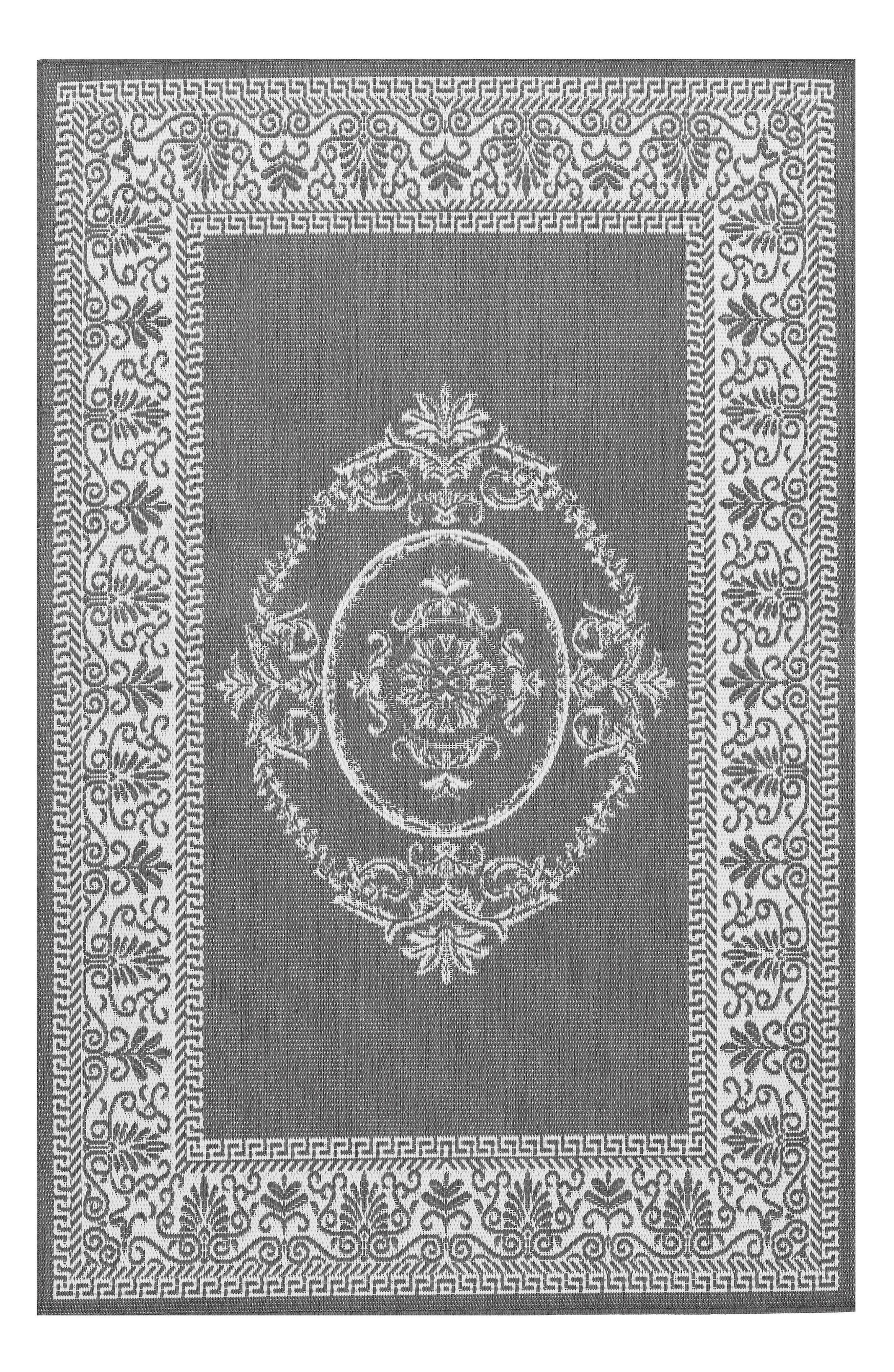 Antique Medallion Indoor/Outdoor Rug,                         Main,                         color, Grey/ White