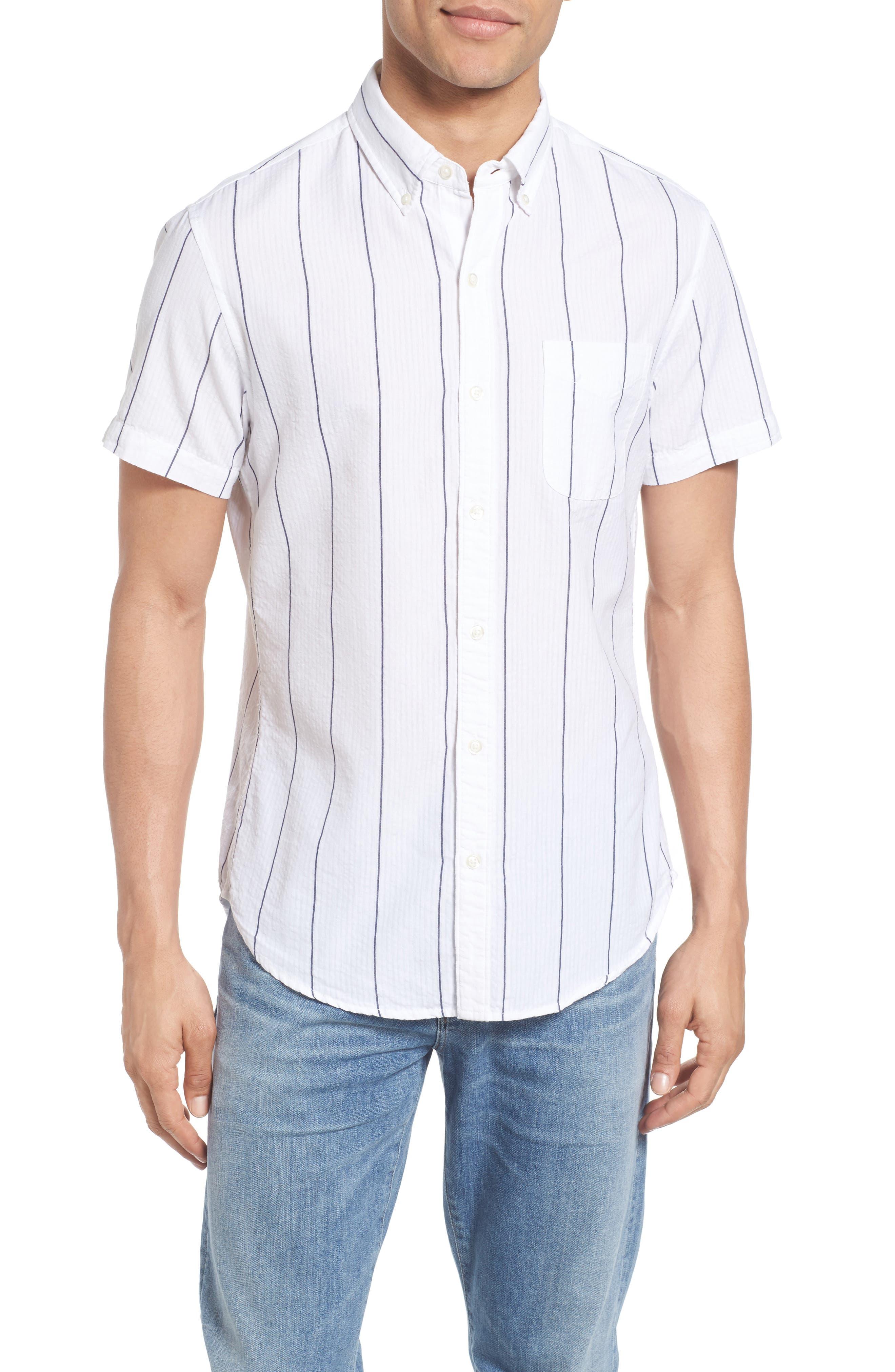 Bonobos Slim Fit Short Sleeve Stripe Sport Shirt