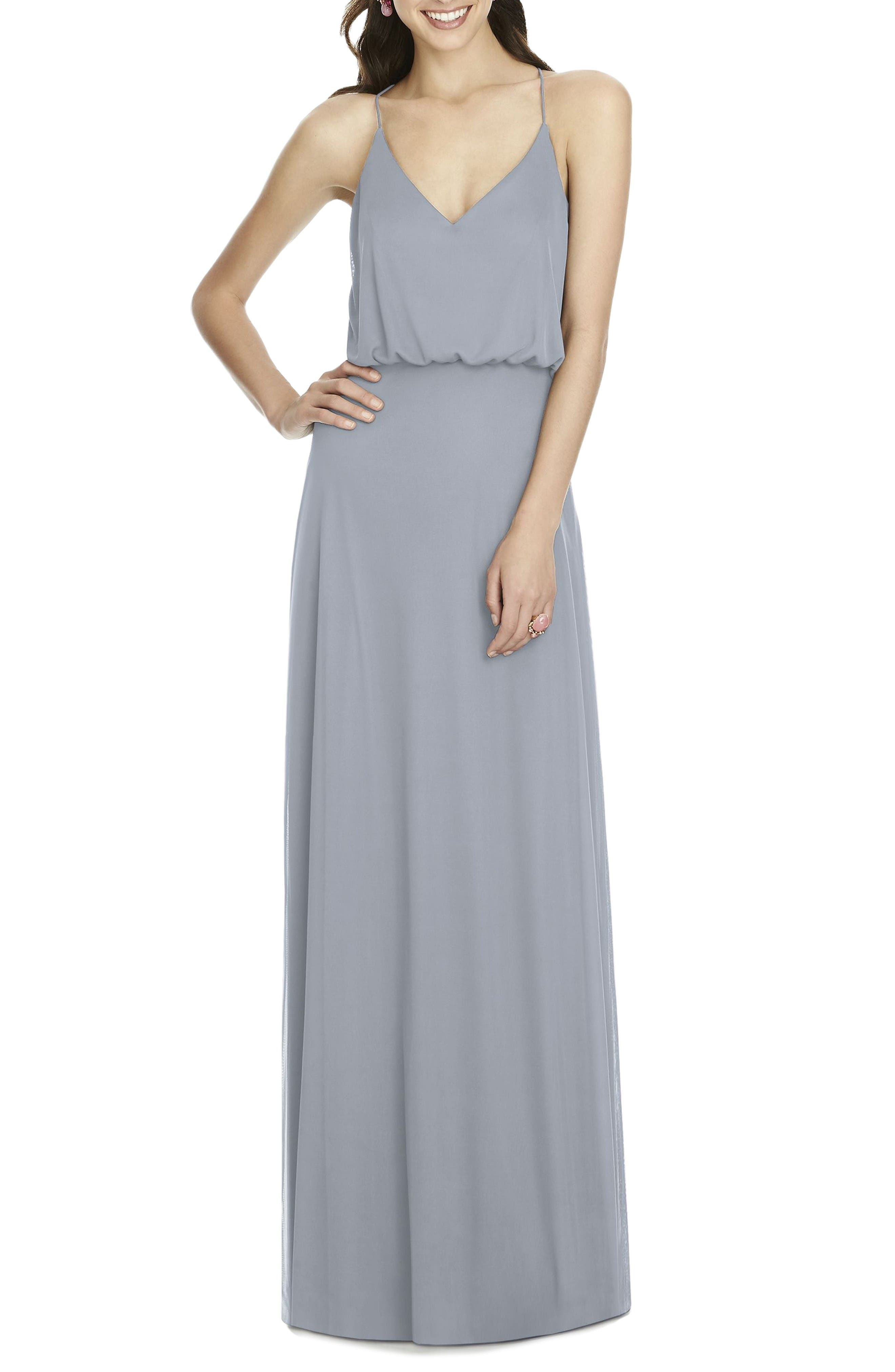 Alfred Sung Chiffon Blouson Gown