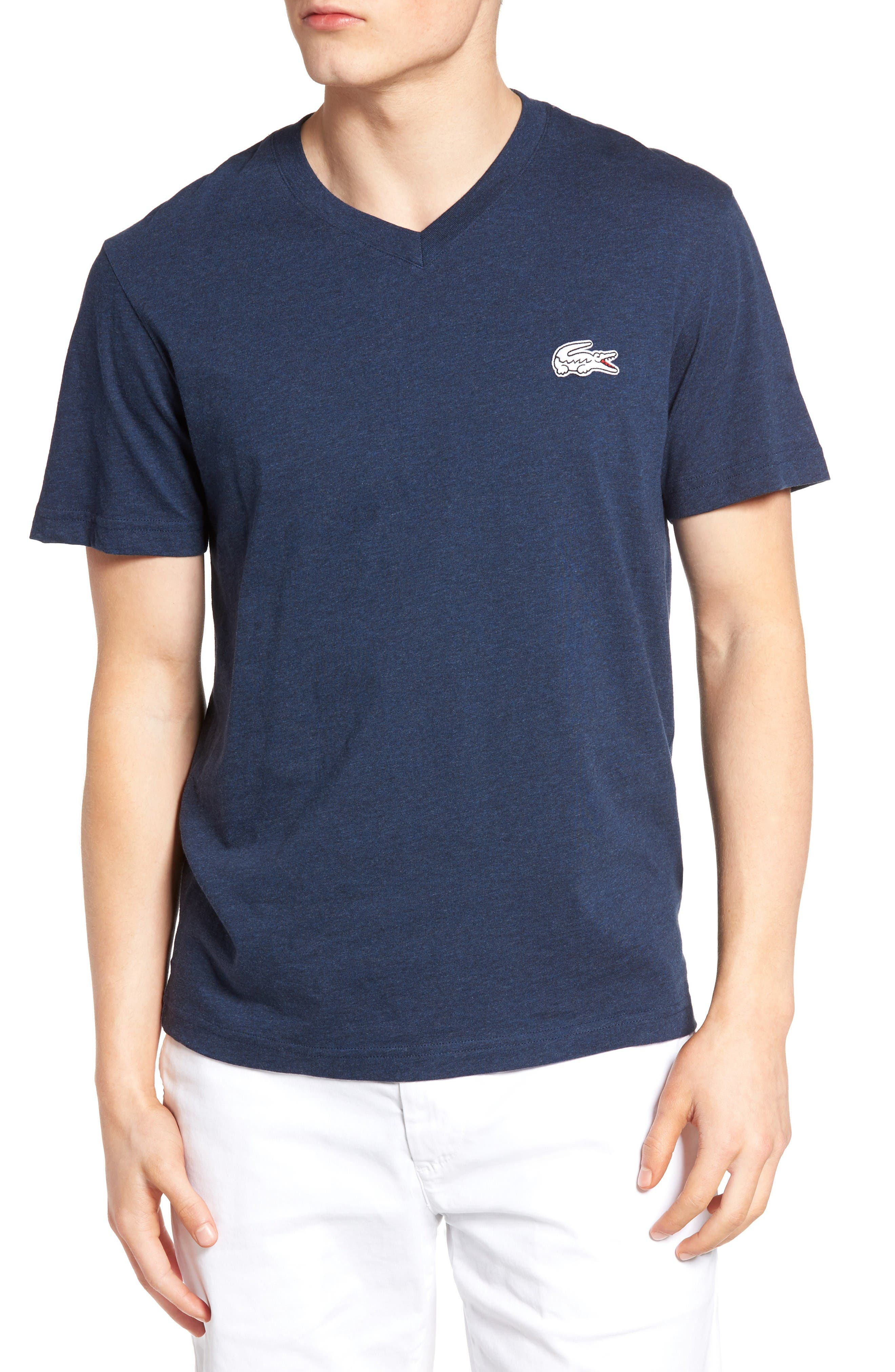 LACOSTE Solid V-Neck T-Shirt