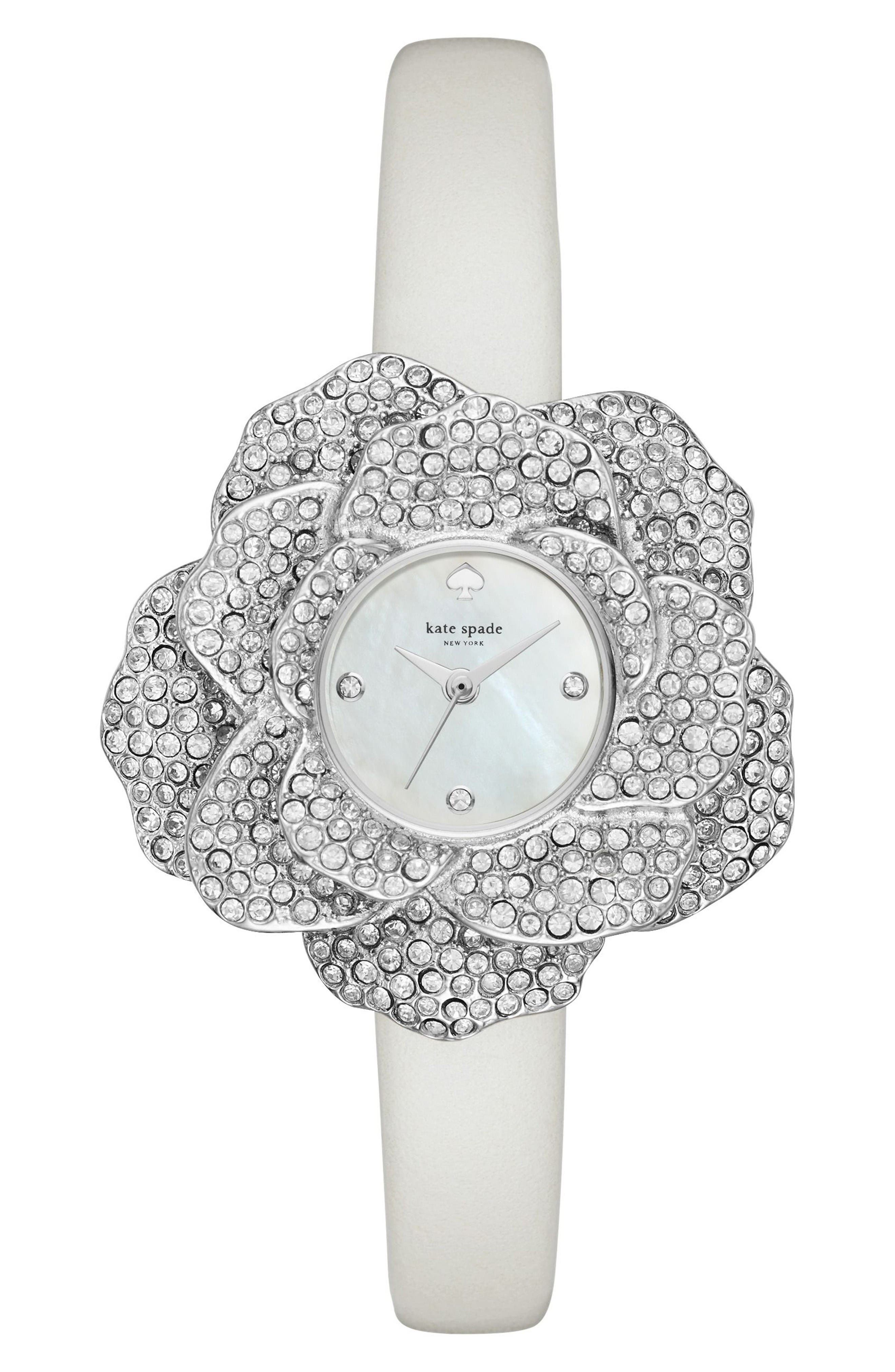 kate spade new york crystal rose leather strap watch, 26mm
