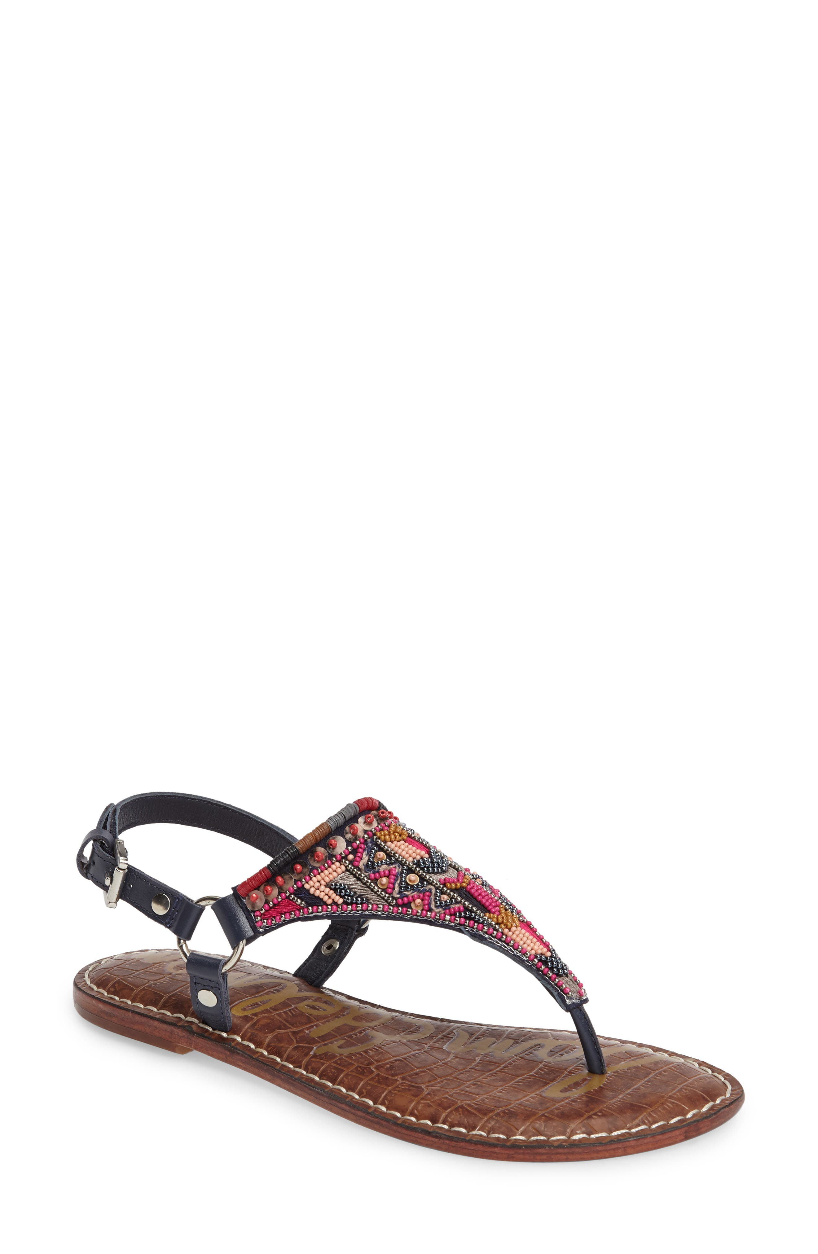 Greta Sandal,                         Main,                         color, Navy Leather