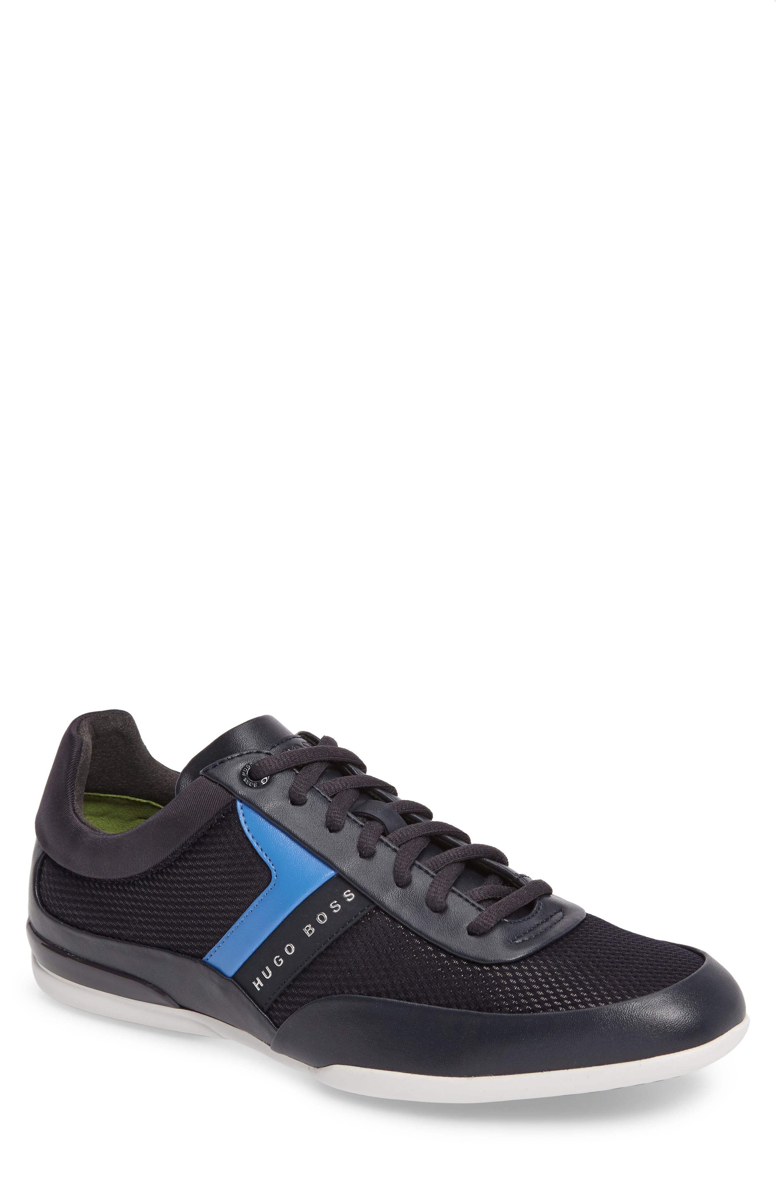 Green Space Mesh Sneaker,                         Main,                         color, Dark Blue Leather