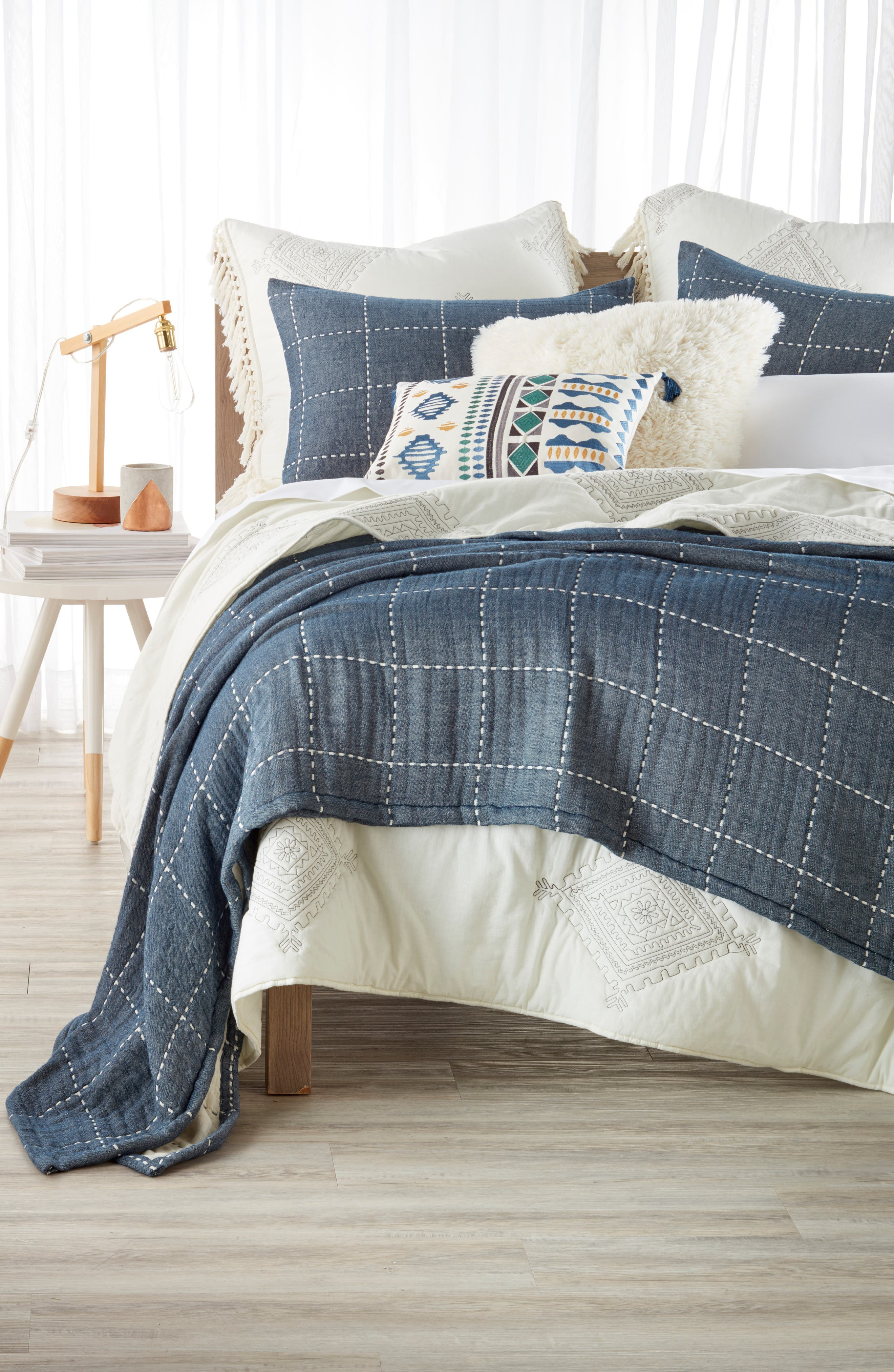 Levtex Zira Quilted Comforter & Windowpane Coverlet Bedding Collection