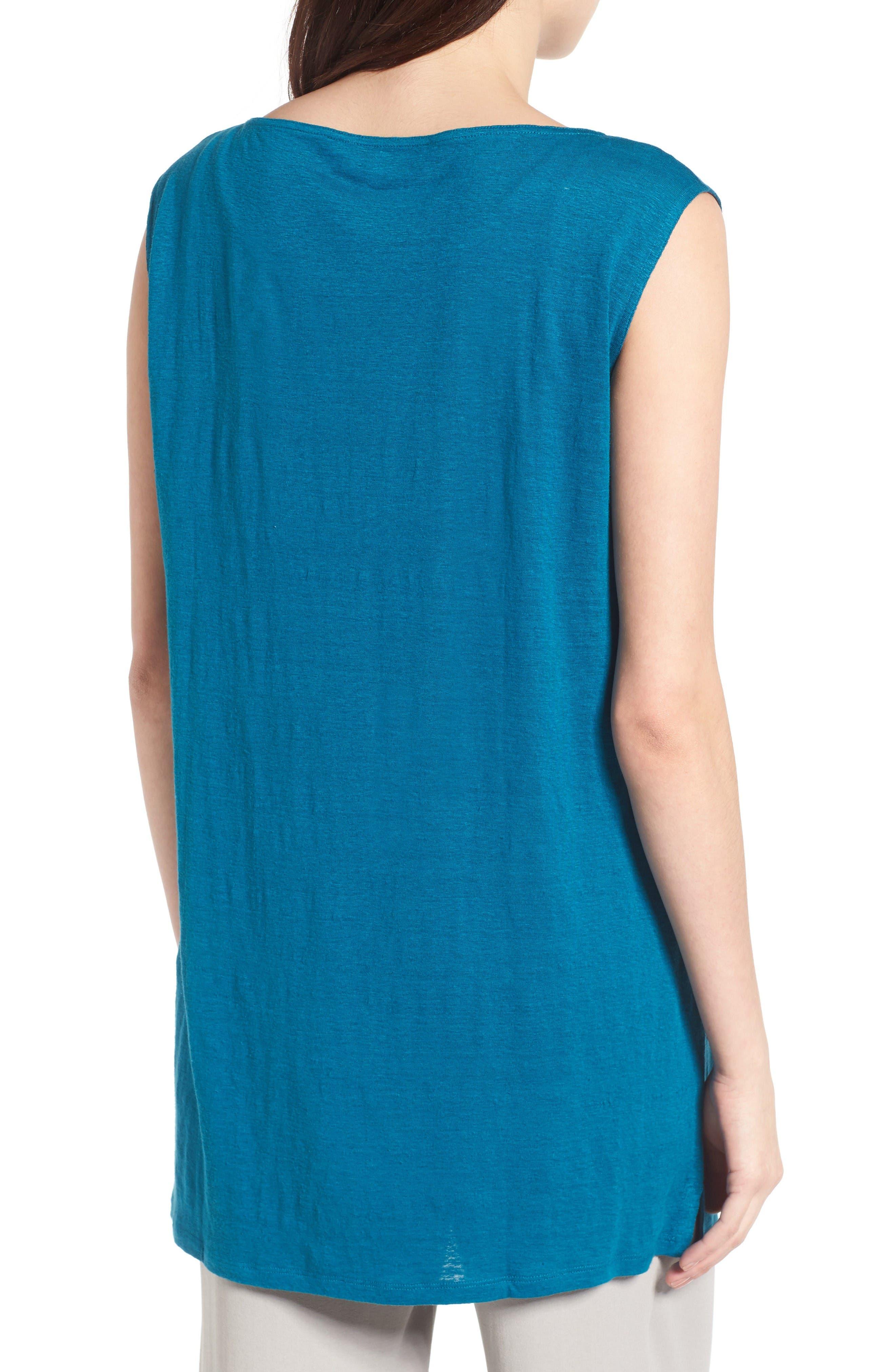Organic Linen Tunic,                             Alternate thumbnail 2, color,                             Jewel
