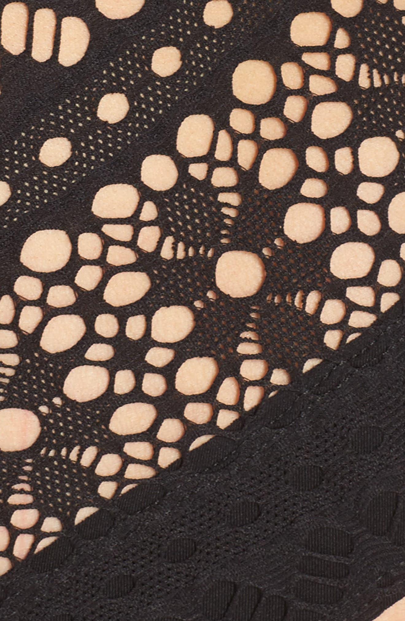 Mia Crochet One-Piece Swimsuit,                             Alternate thumbnail 5, color,                             Black