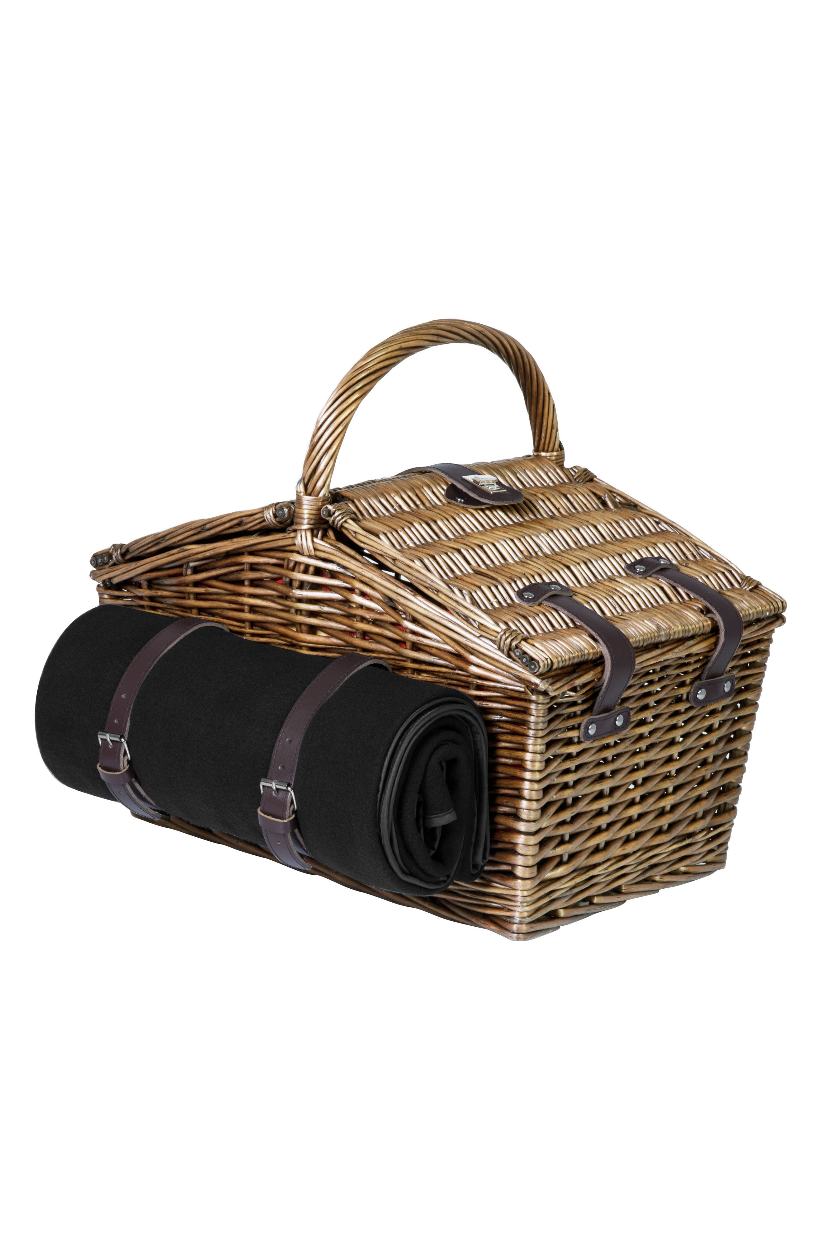 Somerset Wicker Picnic Basket,                             Alternate thumbnail 2, color,                             Red