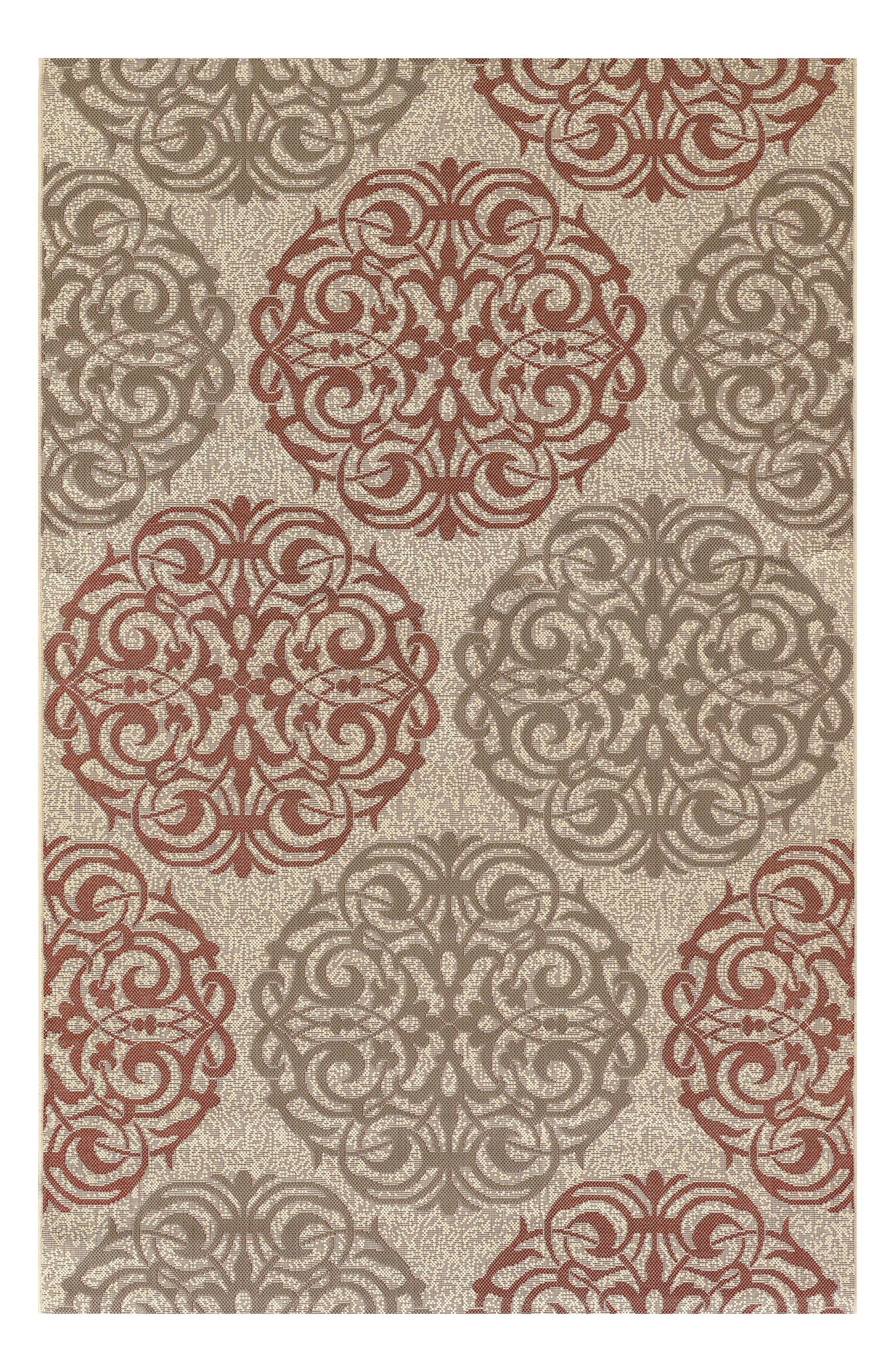 Five Seasons Montecito Indoor/Outdoor Rug,                         Main,                         color, Cream/ Coral Red