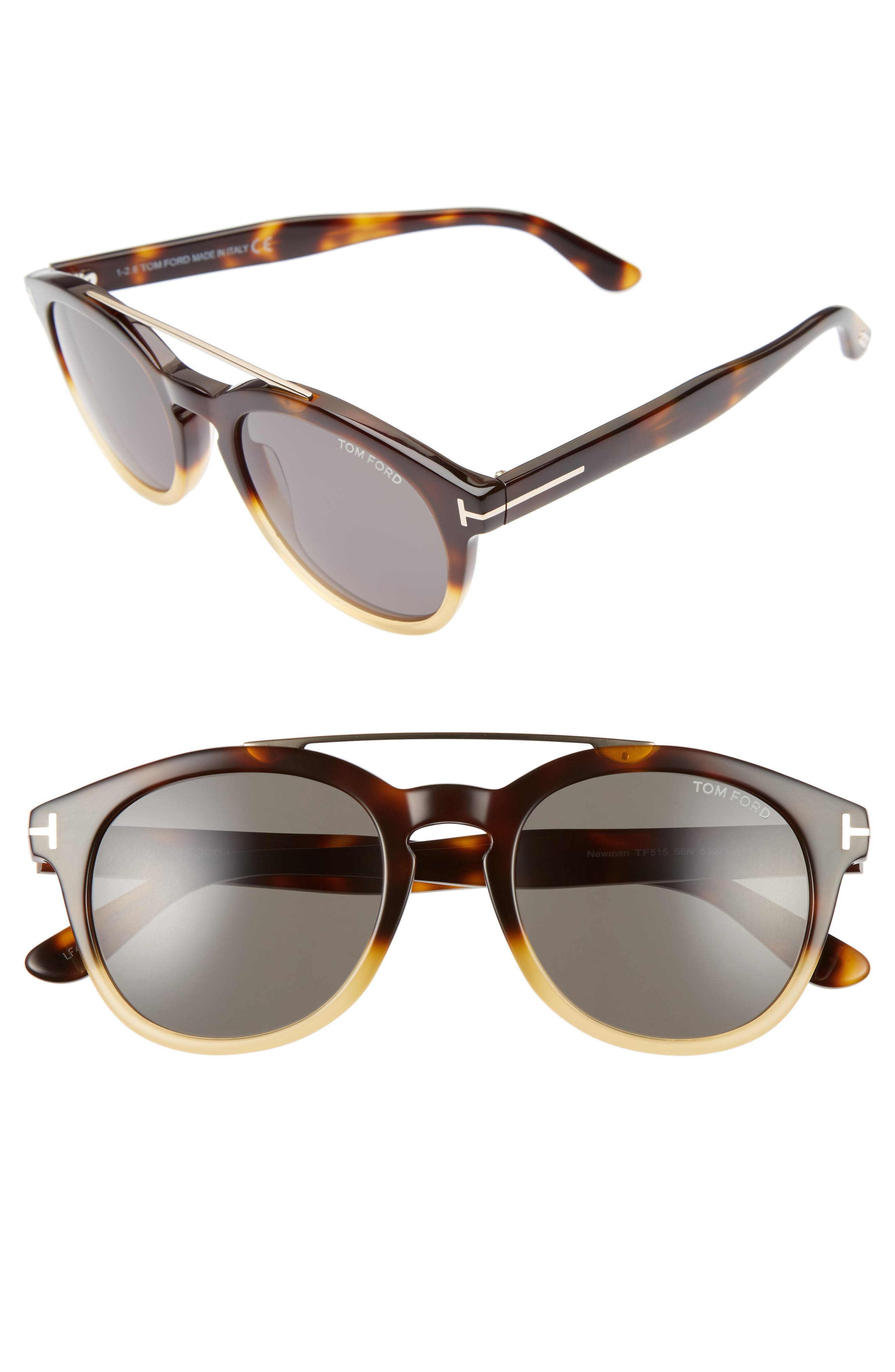 Newman 53mm Round Sunglasses,                         Main,                         color, Honey/ Rose Gold/ Green