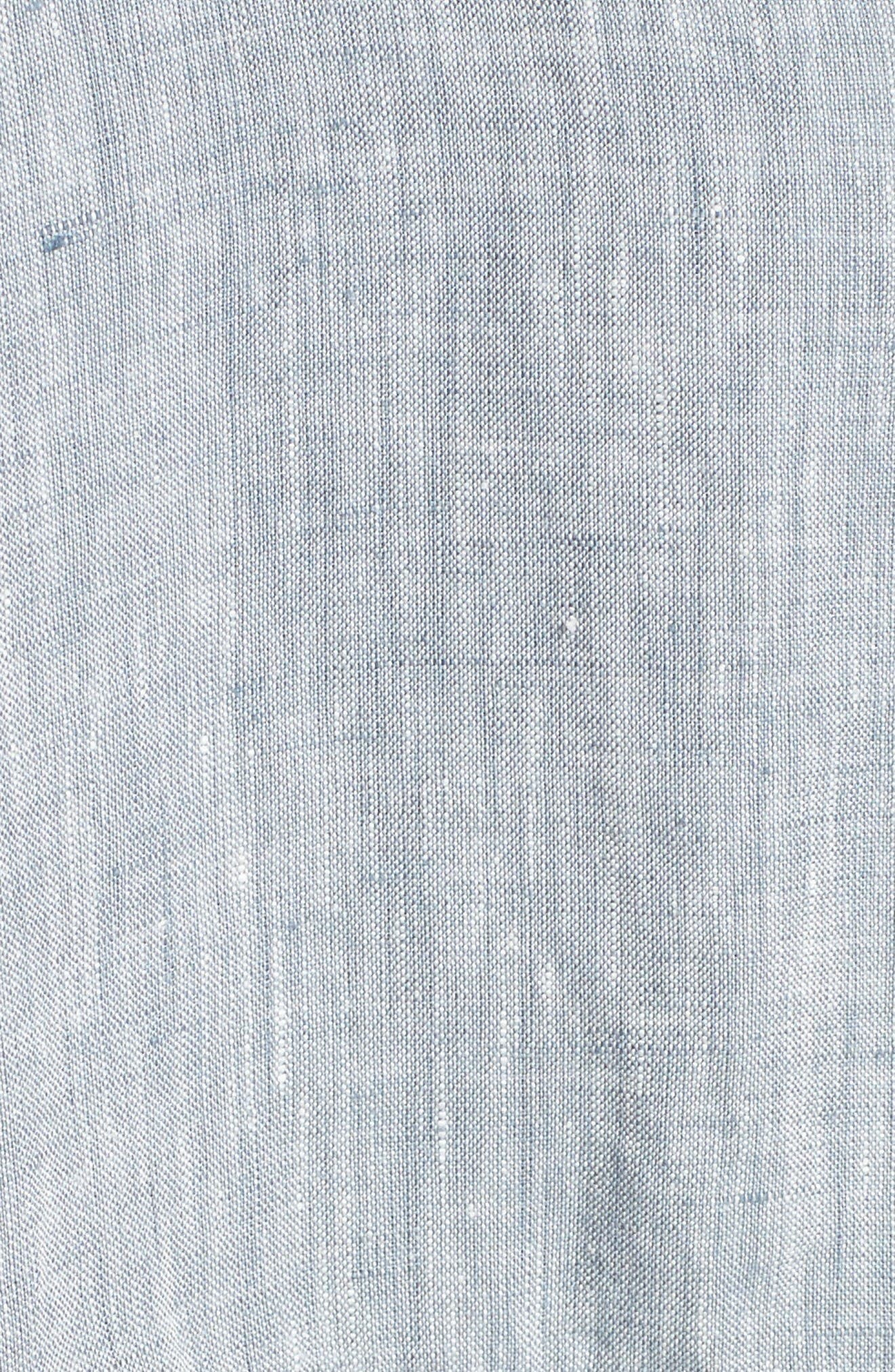 Long Organic Linen Jacket,                             Alternate thumbnail 6, color,                             Chambray