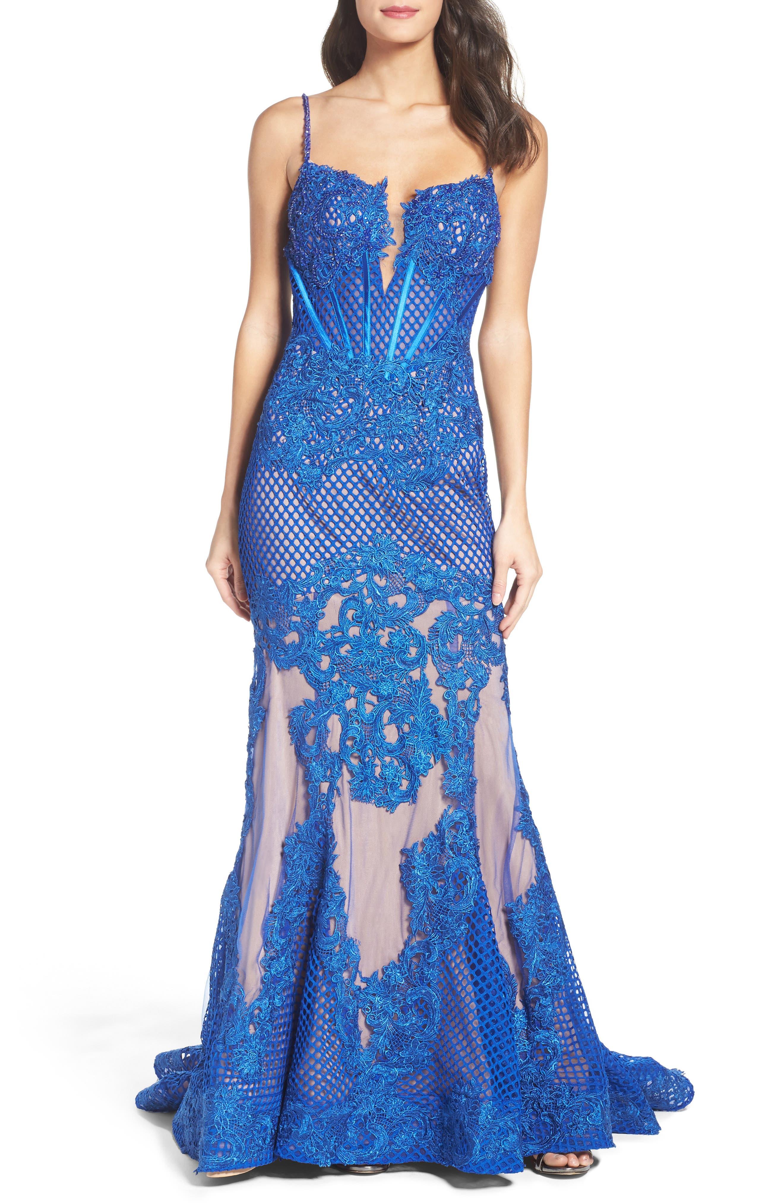 Alternate Image 1 Selected - Mac Duggal Illusion Mermaid Gown
