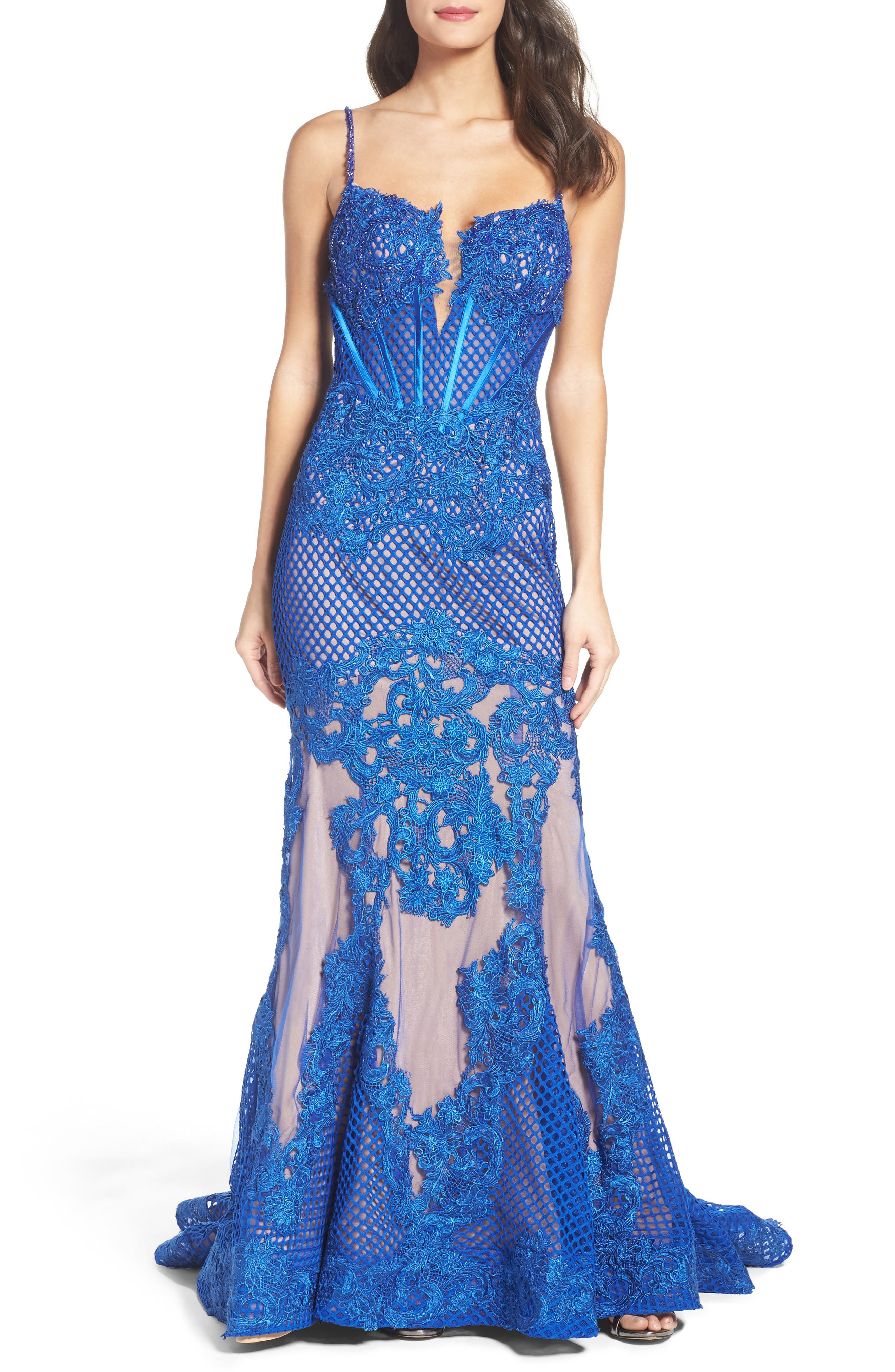 Main Image - Mac Duggal Illusion Mermaid Gown