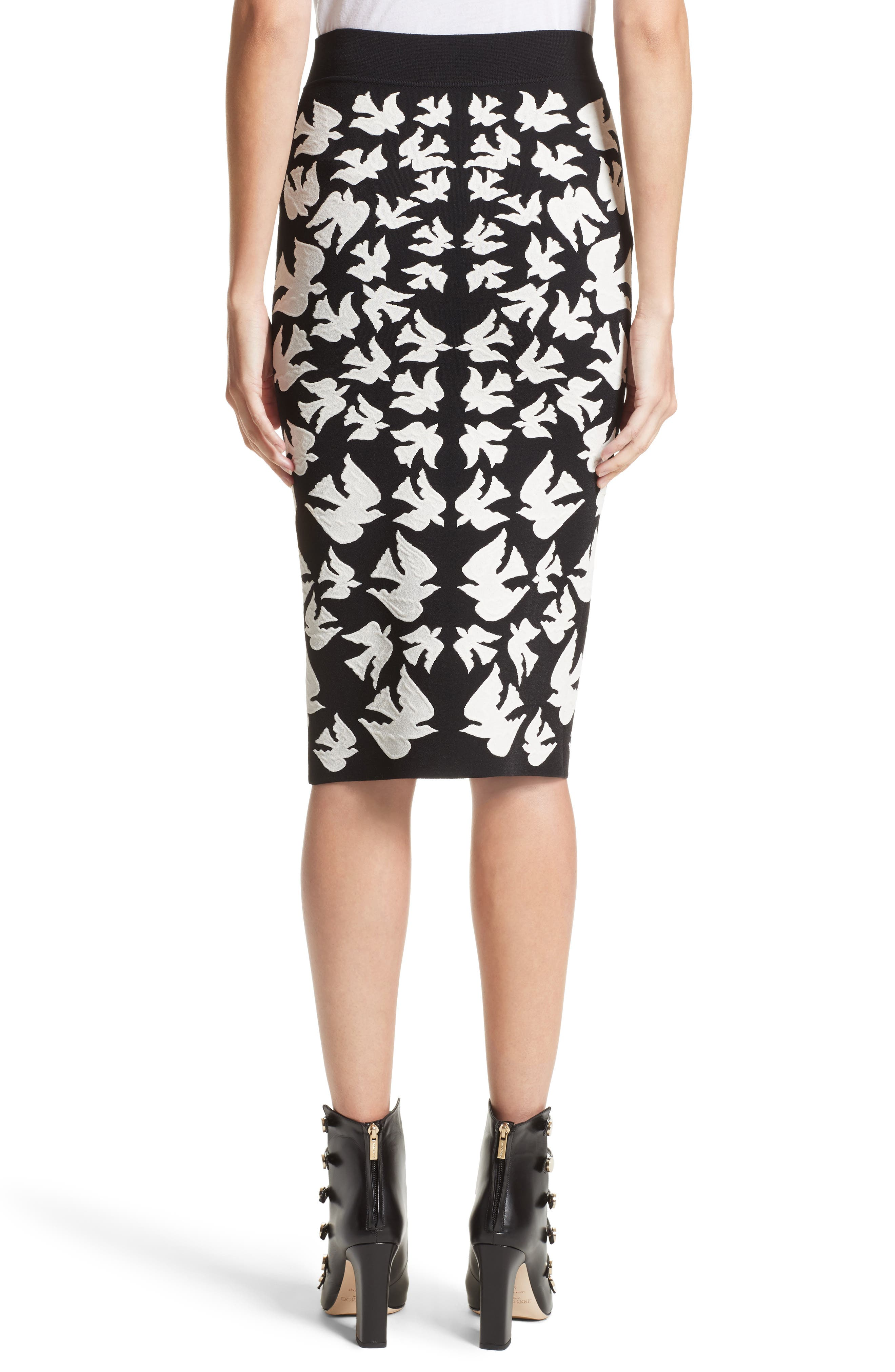 Alternate Image 2  - Alexander McQueen Swallow Jacquard Pencil Skirt