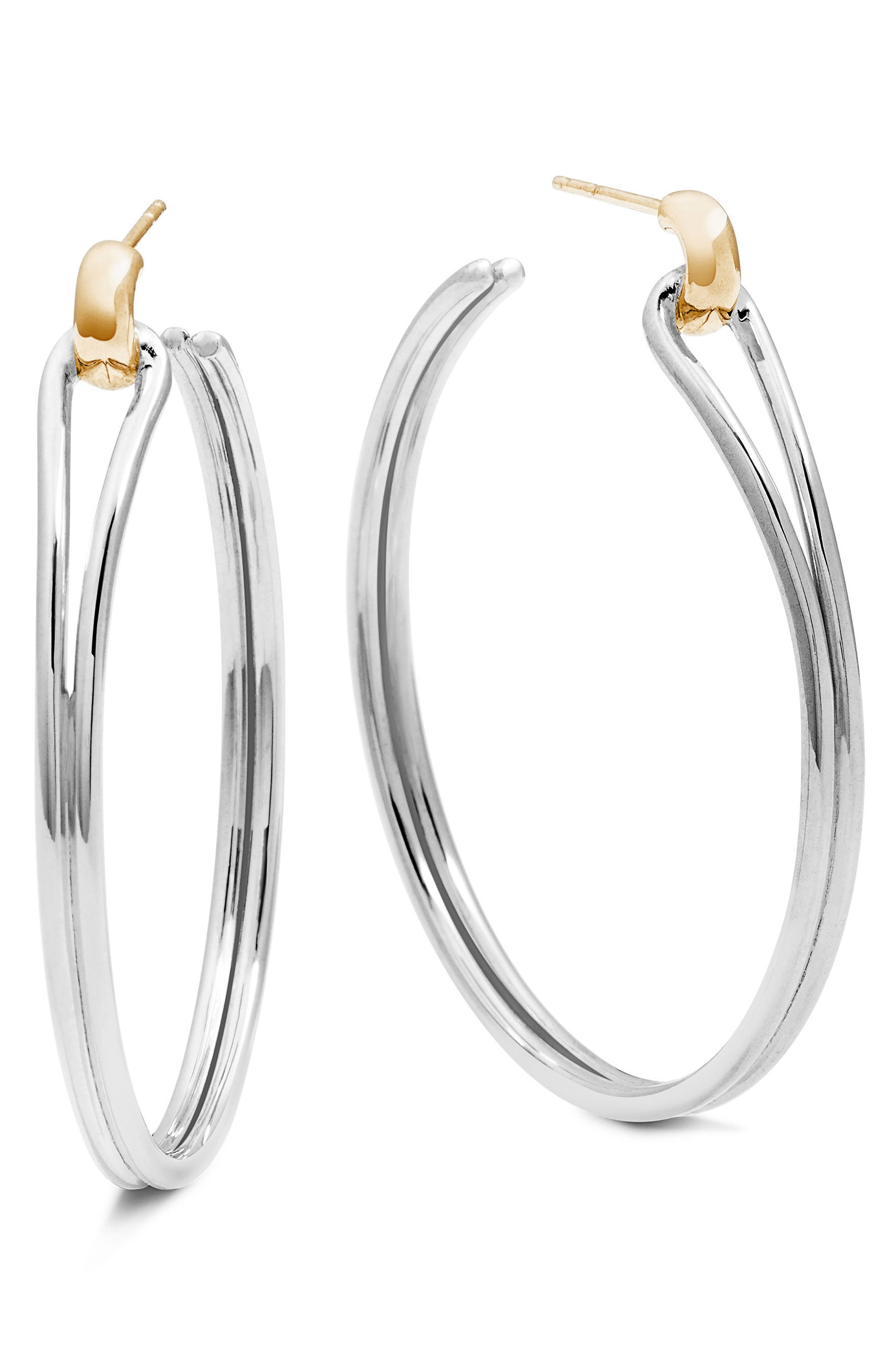 Lug Hoop Earrings,                         Main,                         color, Silver