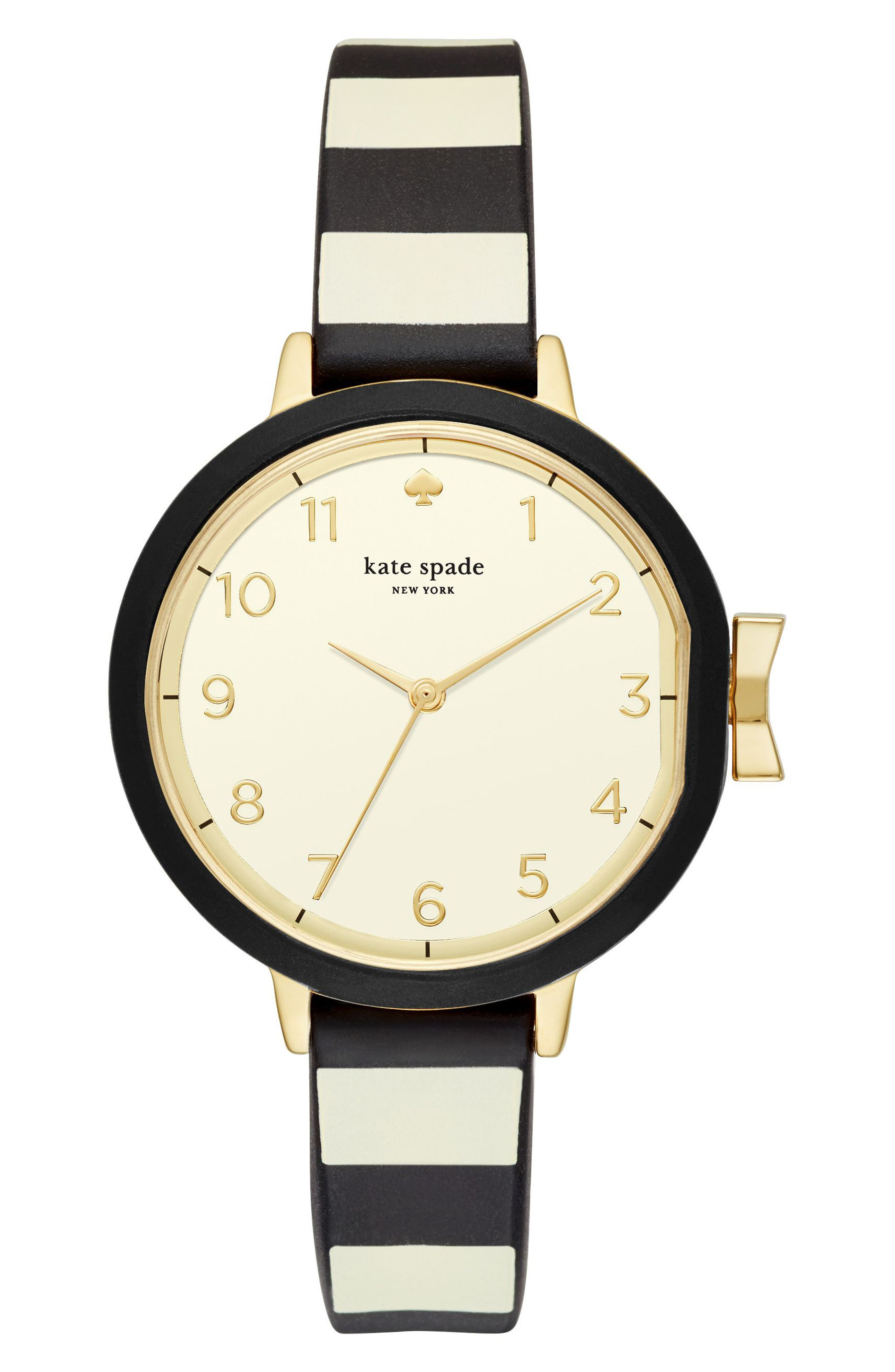 park row silicone strap watch, 34mm,                         Main,                         color, Black/ Gold/ Black