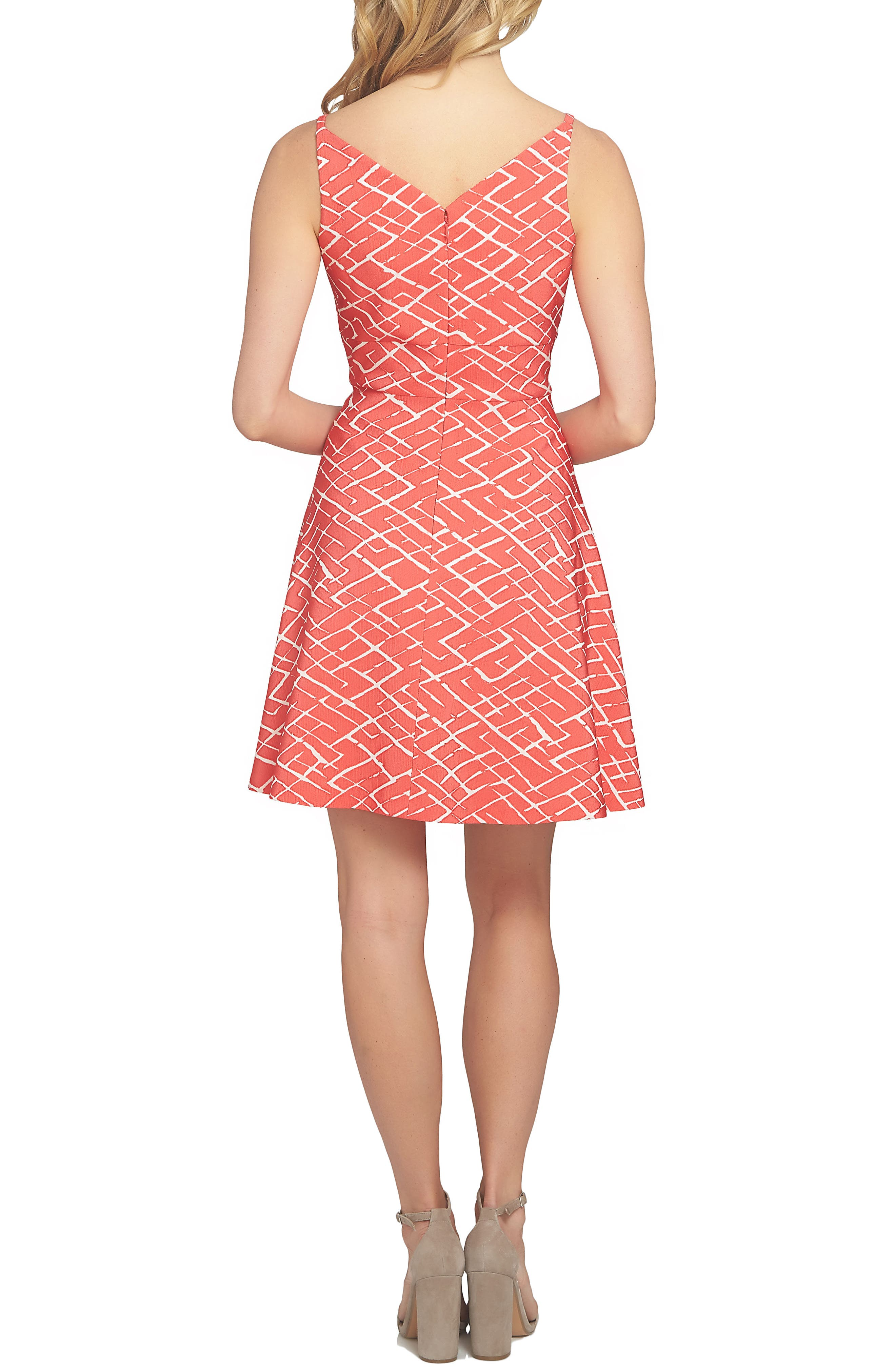 Miley Print Fit & Flare Dress,                             Alternate thumbnail 2, color,                             Fiery Red