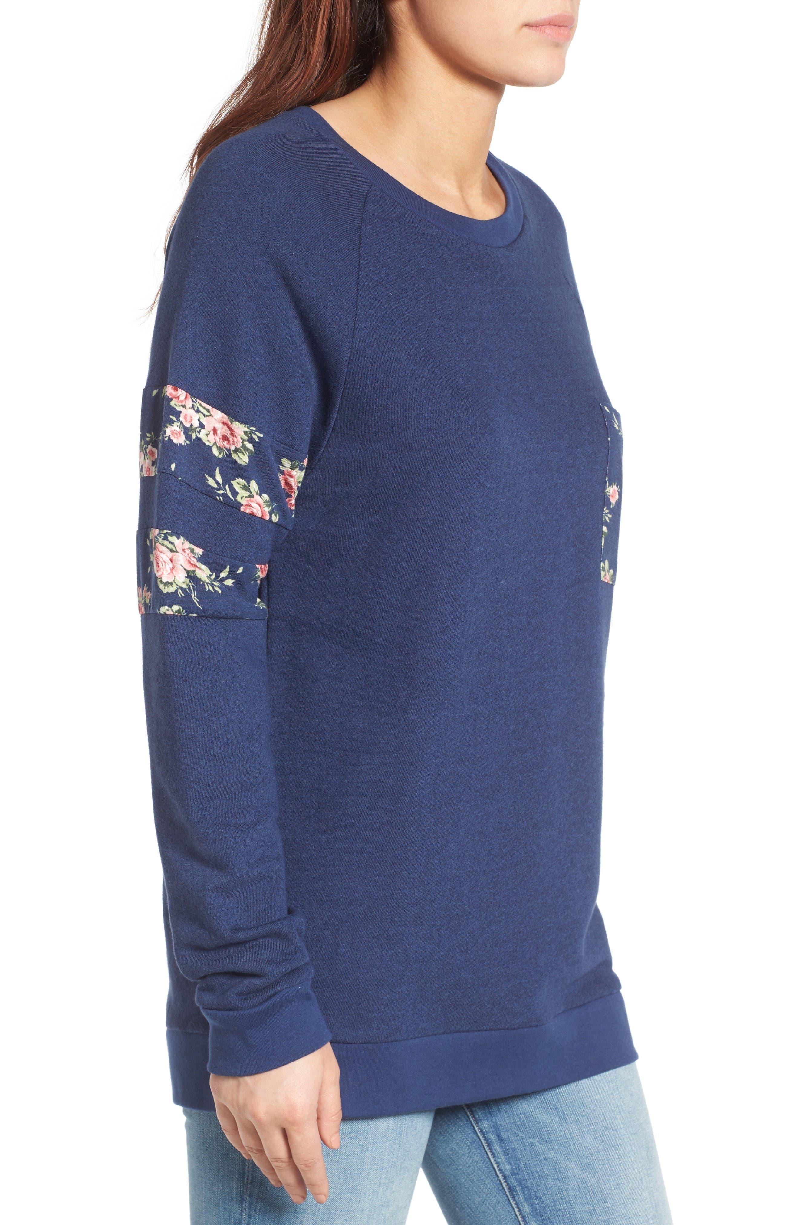 Print Detail Pocket Sweatshirt,                             Alternate thumbnail 3, color,                             Navy